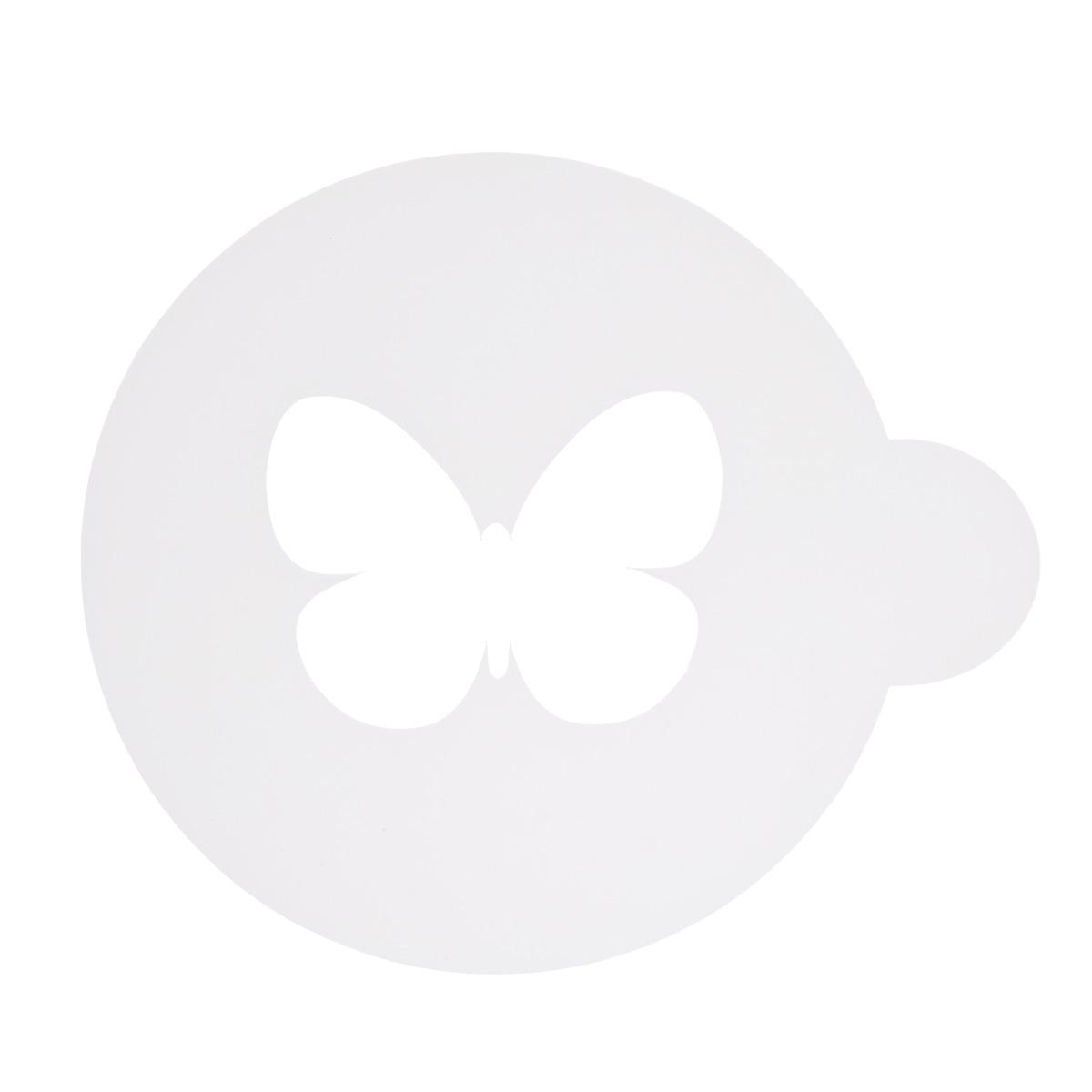 Трафарет на кофе и десерты Леденцовая фабрика Бабочка, диаметр 10 смТ02Трафарет представляет собой пластину с прорезями, через которые пищевая краска (сахарная пудра, какао, шоколад, сливки, корица, дробленый орех) наносится на поверхность кофе, молочных коктейлей, десертов. Трафарет изготовлен из матового пищевого пластика 250 мкм и пригоден для контакта с пищевыми продуктами. Трафарет многоразовый. Побалуйте себя и ваших близких красиво оформленным кофе.