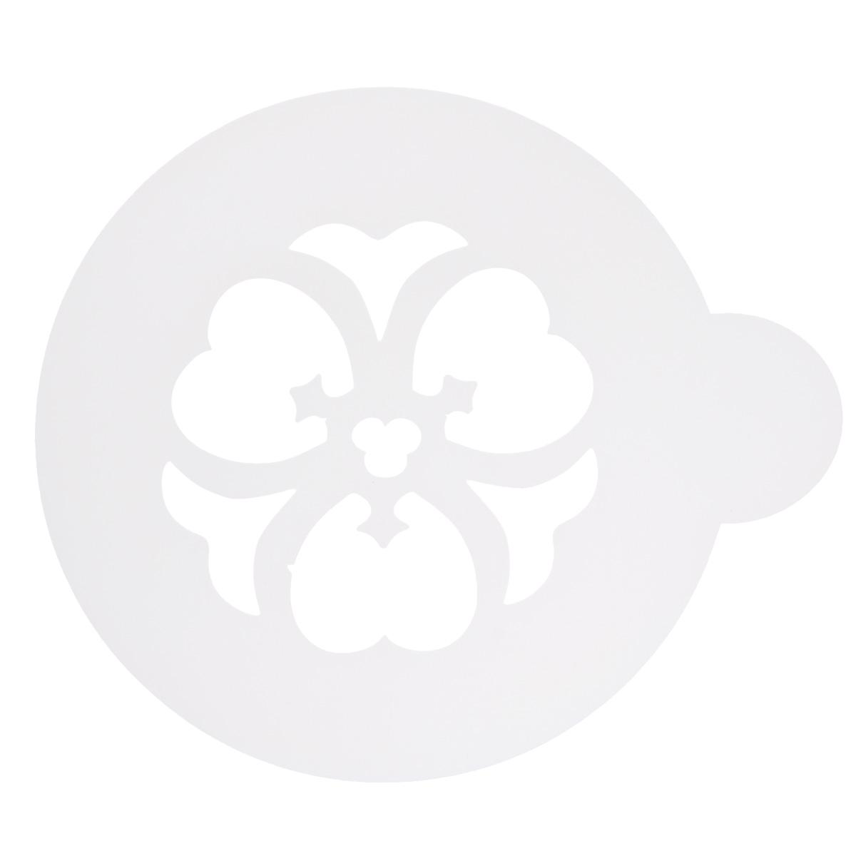 Трафарет на кофе и десерты Леденцовая фабрика Цветочек, диаметр 10 смТ024Трафарет представляет собой пластину с прорезями, через которые пищевая краска (сахарная пудра, какао, шоколад, сливки, корица, дробленый орех) наносится на поверхность кофе, молочных коктейлей, десертов. Трафарет изготовлен из матового пищевого пластика 250 мкм и пригоден для контакта с пищевыми продуктами. Трафарет многоразовый. Побалуйте себя и ваших близких красиво оформленным кофе.
