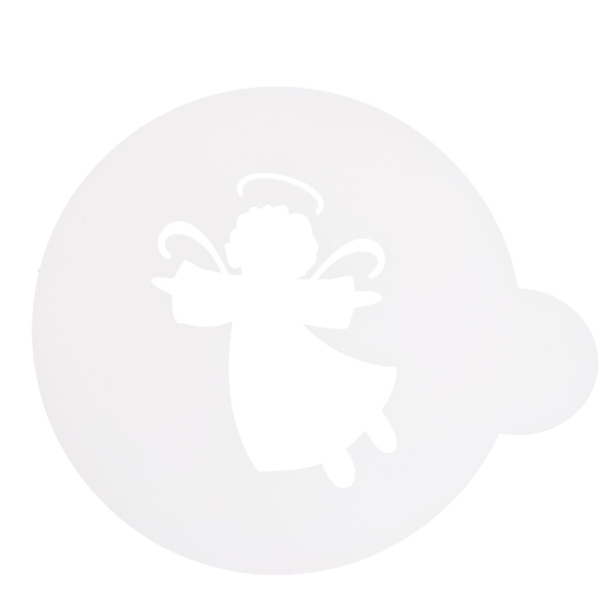 Трафарет на кофе и десерты Леденцовая фабрика Ангел, диаметр 10 смТ01Трафарет представляет собой пластину с прорезями, через которые пищевая краска (сахарная пудра, какао, шоколад, сливки, корица, дробленый орех) наносится на поверхность кофе, молочных коктейлей, десертов. Трафарет изготовлен из матового пищевого пластика 250 мкм и пригоден для контакта с пищевыми продуктами. Трафарет многоразовый. Побалуйте себя и ваших близких красиво оформленным кофе.