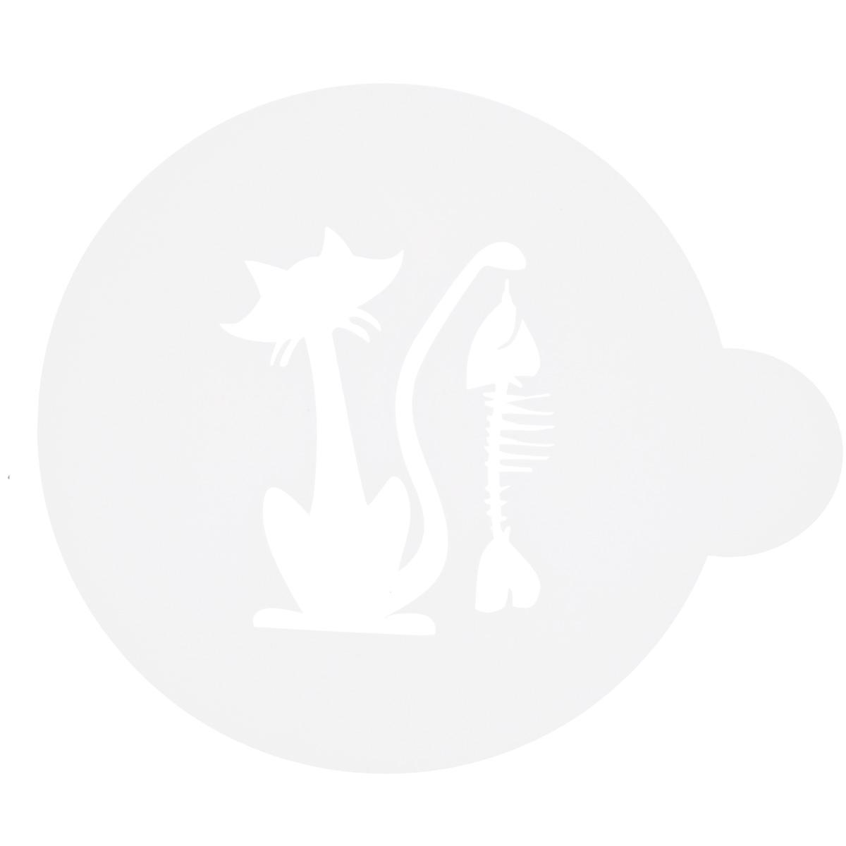 Трафарет на кофе и десерты Леденцовая фабрика Кошка с рыбой, диаметр 10 смТ011Трафарет представляет собой пластину с прорезями, через которые пищевая краска (сахарная пудра, какао, шоколад, сливки, корица, дробленый орех) наносится на поверхность кофе, молочных коктейлей, десертов. Трафарет изготовлен из матового пищевого пластика 250 мкм и пригоден для контакта с пищевыми продуктами. Трафарет многоразовый. Побалуйте себя и ваших близких красиво оформленным кофе.