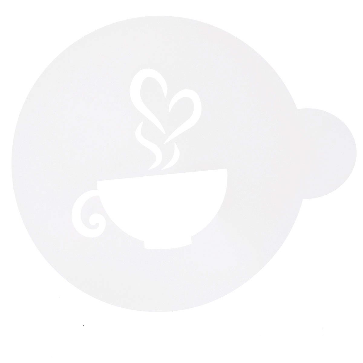 Трафарет на кофе и десерты Леденцовая фабрика Чашка кофе, диаметр 10 смТ025Трафарет представляет собой пластину с прорезями, через которые пищевая краска (сахарная пудра, какао, шоколад, сливки, корица, дробленый орех) наносится на поверхность кофе, молочных коктейлей, десертов. Трафарет изготовлен из матового пищевого пластика 250 мкм и пригоден для контакта с пищевыми продуктами. Трафарет многоразовый. Побалуйте себя и ваших близких красиво оформленным кофе.