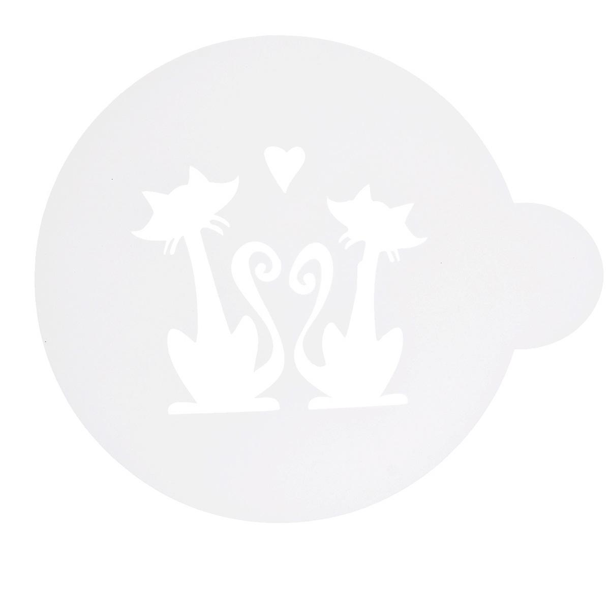 Трафарет на кофе и десерты Леденцовая фабрика Влюбленная парочка, диаметр 10 смТ03Трафарет представляет собой пластину с прорезями, через которые пищевая краска (сахарная пудра, какао, шоколад, сливки, корица, дробленый орех) наносится на поверхность кофе, молочных коктейлей, десертов. Трафарет изготовлен из матового пищевого пластика 250 мкм и пригоден для контакта с пищевыми продуктами. Трафарет многоразовый. Побалуйте себя и ваших близких красиво оформленным кофе.