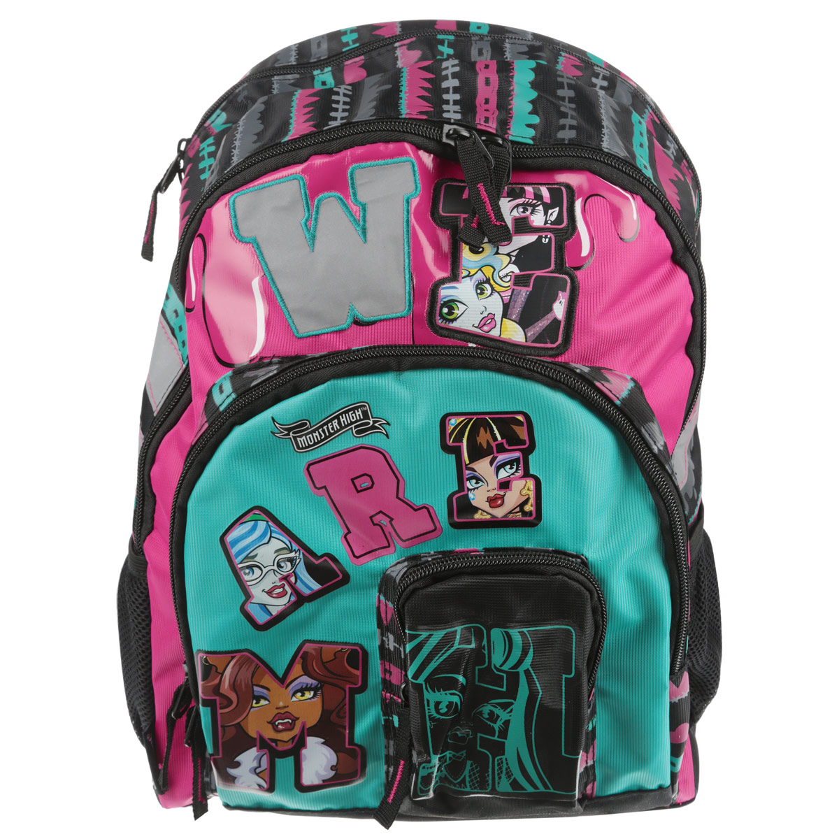 Рюкзак школьный Monster High, цвет: черный, розовый, бирюзовый. MHCB-MT1-767MHCB-MT1-767Яркий стильный школьный рюкзак Monster High понравится каждой девочке-поклоннице мультсериала Школа монстров. Выполнен из прочных и высококачественных материалов, дополнен изображением учениц Monster High.Содержит два вместительных отделения, закрывающиеся на застежки-молнии. В большом отделении находятся две перегородки для тетрадей или учебников. Дно рюкзака можно сделать жестким, разложив специальную панель с пластиковой вставкой, что повышает сохранность содержимого рюкзака и способствует правильному распределению нагрузки. Лицевая сторона оснащена двумя накладными карманами на молнии, один из которых для мобильного телефона. По бокам расположены два открытых накладных кармана, стянутых сверху резинкой. Специально разработанная архитектура спинки со стабилизирующими набивными элементами повторяет естественный изгиб позвоночника. Набивные элементы обеспечивают вентиляцию спины ребенка. Мягкие широкие лямки позволяют легко и быстро отрегулировать рюкзак в соответствии с ростом. Рюкзак оснащен эргономичной ручкой для удобной переноски в руке. Светоотражающие элементы обеспечивают безопасность в темное время суток.Такой школьный рюкзак станет незаменимым спутником вашего ребенка в походах за знаниями.Рекомендуемый возраст: от 10 лет.