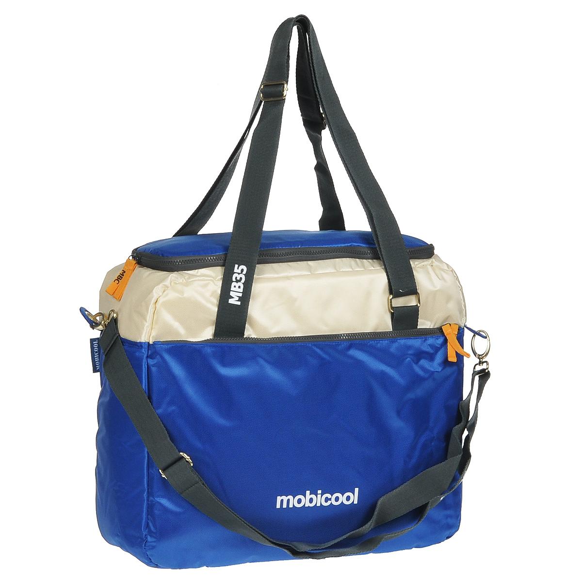 Термосумка MobiCool Sail 35, цвет: синий9103500758_синийСумка-холодильник MobiCool Sail 35 будет незаменимым помощникомдля охлаждения напитков и продуктов в любой поездке. Регулируемый по длине плечевой ремень позволит с легкостью носить сумку, оставляя руки свободными. Множество отделений позволяют собрать вещи для дальней дороги. Внутренний термоизолирующий слой из вспененного полиэтилена надолго сохраняет свежесть мясных блюд, салатов, а также охлажденных напитков. MobiCool Sail 35 изготовлена из прочных, устойчивых к выгоранию материалов.Изоляция: EPP пенопластМетод охлаждения: хладагентВнутренний материал: фольгированный PEVAВнешний материал: высокопрочный полиэстерВместимость: 11 бутылок емкостью 1.5 л, 63 банки емкостью 0,33 л