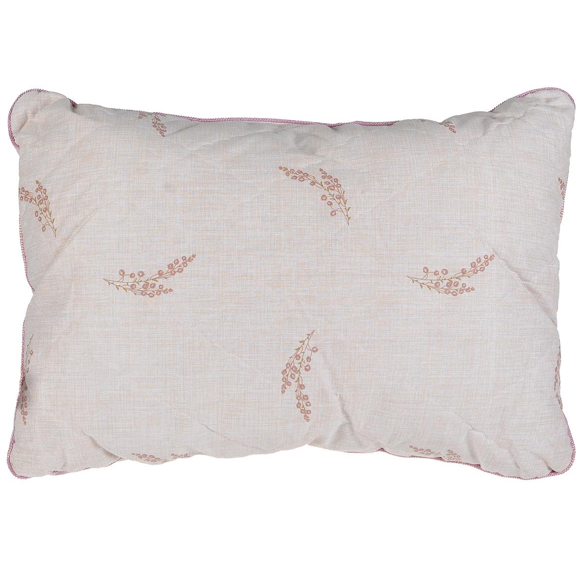 """Подушка Mona Liza """"Premium"""", наполнитель: льняное волокно, цвет: бежевый, 50 х 70 см"""