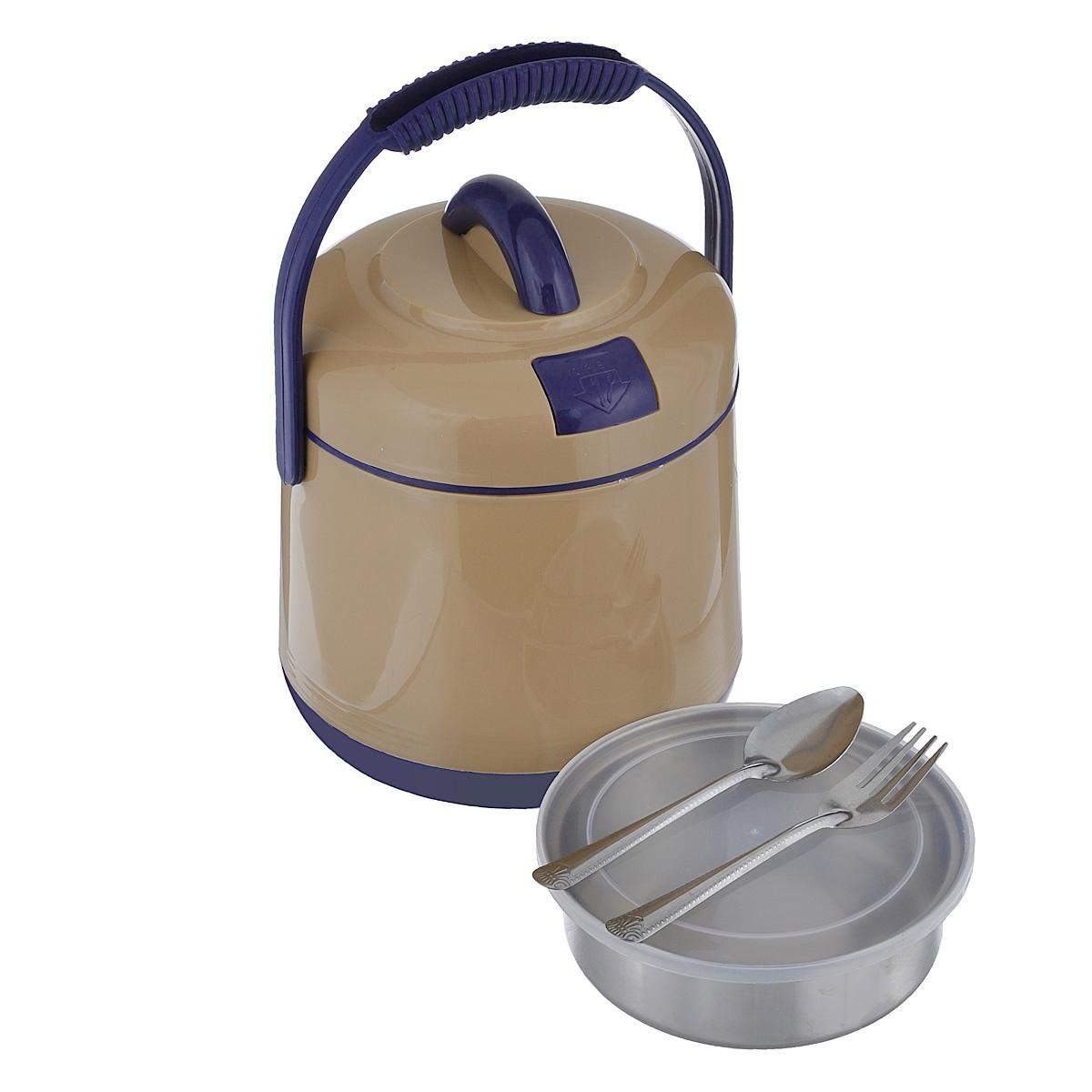 Термос пищевой Mayer & Boch, цвет: бежевый, 1,6 л901Пищевой термос Mayer & Boch предназначен для хранения и переноски горячих и холодных пищевых продуктов. Корпус выполнен из высококачественного пластика. Внутренняя колба изготовлена из нержавеющей стали. Наполнение из жесткого пенопласта сохраняет температуру и свежесть пищи на протяжении 4-5 часов. Пища сохраняет аромат, вкус и питательные вещества. Внутрь вставляется специальная металлическая чаша с прозрачной пластиковой крышкой, что позволяет брать с собой сразу два блюда. В комплекте также предусмотрена ложка и вилка, которые хранятся в специальном отверстие в крышке. Такой термос - идеальный вариант для домашнего использования, для отдыха на природе или поездки. Элегантный и стильный дизайн подходит для любого случая. Размер термоса: 17 см х 17 см х 21 см. Диаметр емкости: 13,5 см. Высота стенки емкости: 4,5 см. Длина ложки/вилки: 14 см.