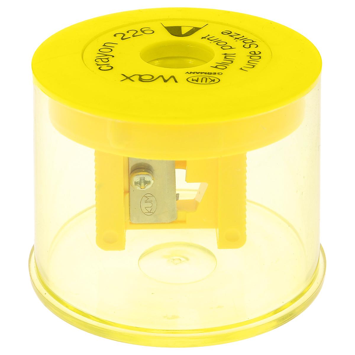 Точилка с контейнером Kum, для восковых мелков, цвет: желтыйK-226WaxTТочилка Kum предназначена для затачивания восковых мелков. Изделие выполнено в виде пластикового контейнера желтого цвета с точилкой на крышке. Точилка с одним отверстием диаметром 11 мм аккуратно затачивает мелок, не повреждая и не ломая его.Точилка Kum станет важной канцелярской принадлежностью на каждом рабочем столе.