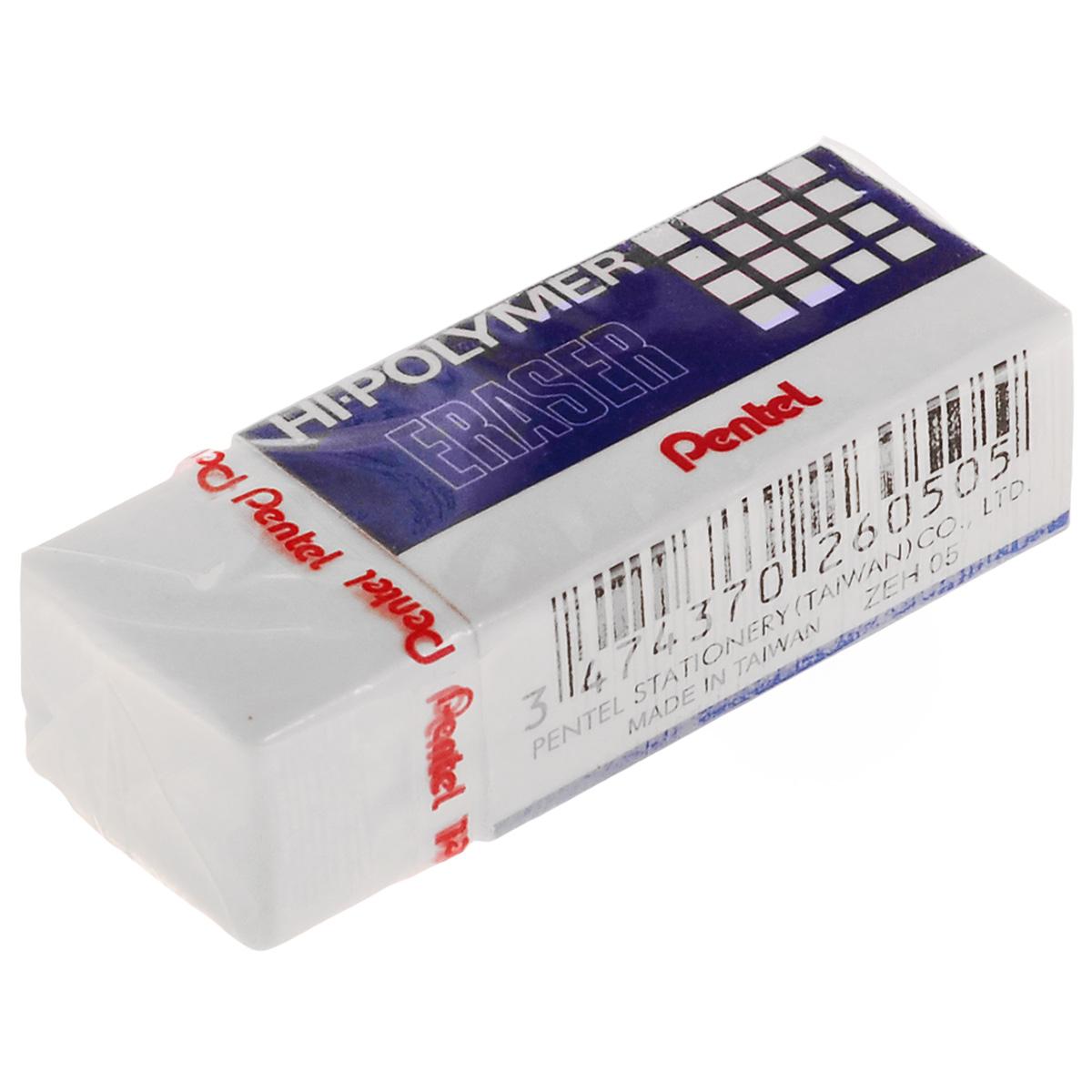 Ластик Pentel, цвет: белыйPZEH-05_белыйВысокополимерный ластик Pentel станет незаменимым аксессуаром на рабочем столе не только школьника или студента, но и офисного работника. Ластик обеспечивает мягкое и легкое стирание не за счет трения, как обычные каучуковые ластики, а за счет присутствия в составе микрокапсул специального растворяющего вещества. Не повреждает бумагу даже при многократном стирании.