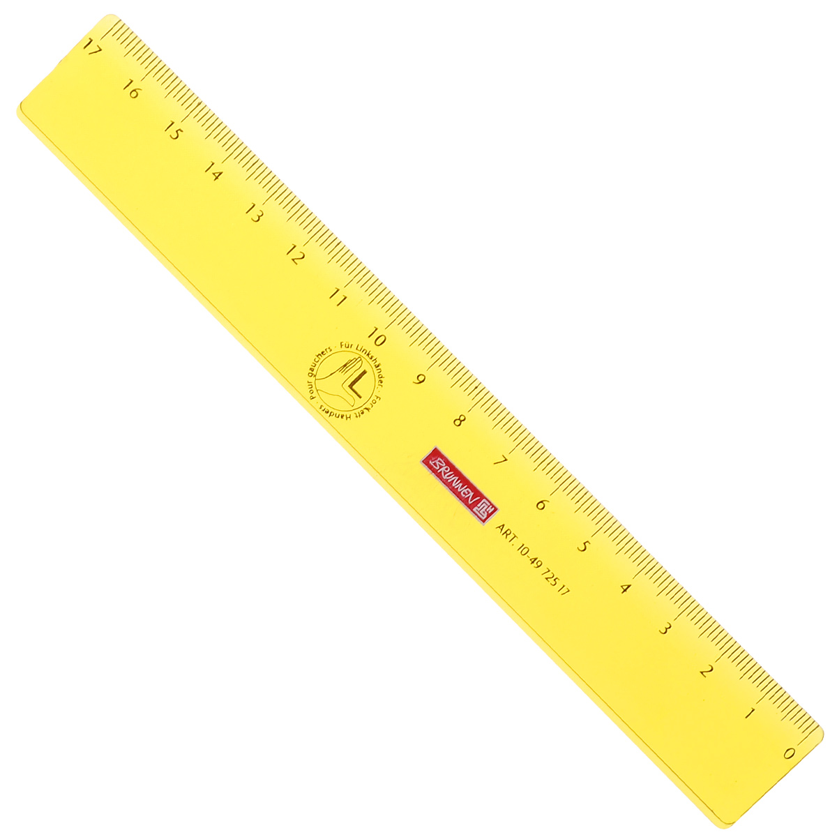 Линейка для левши Brunnen, цвет: желтый, 17 см brunnen линейка для левши цвет красный 17 см