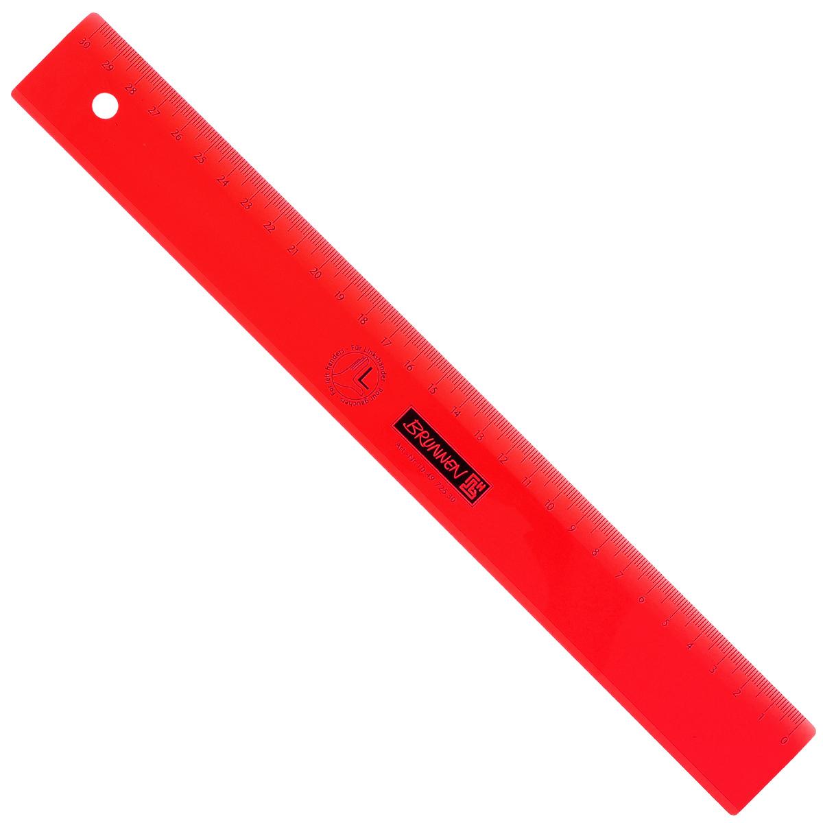 Линейка для левши Brunnen, цвет: красный, 30 см49725-30\BCD_красныйЛинейка Brunnen, длиной 30 см, выполнена из прозрачного пластика красного цвета. Линейка предназначена специально для левшей. Шкала на линейке расположена справа налево. Линейка Brunnen - это незаменимый атрибут, необходимый школьнику или студенту, упрощающий измерение и обеспечивающий ровность проводимых линий.