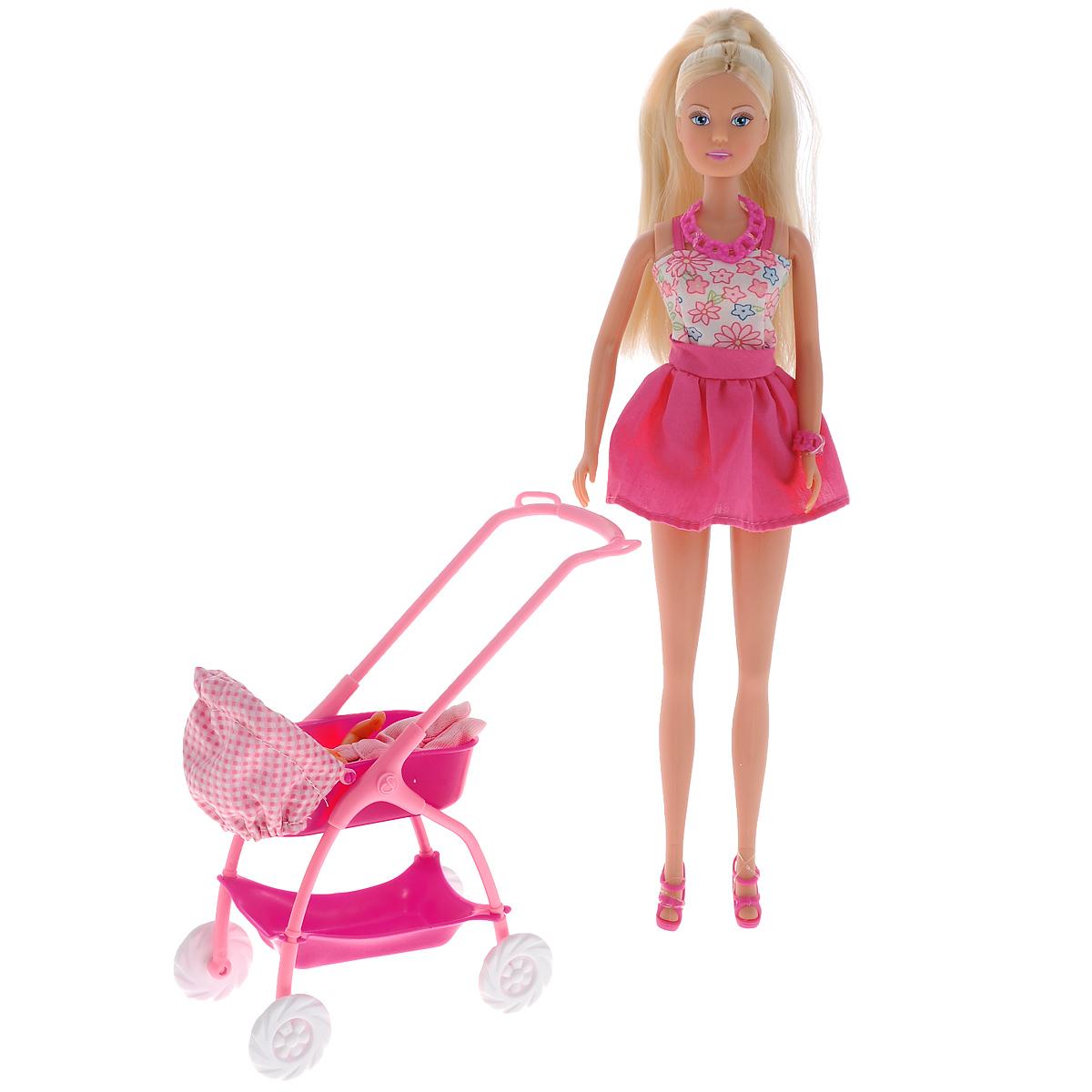 Simba Кукла Штеффи с ребенком цвет розовый белый simba с ребенком