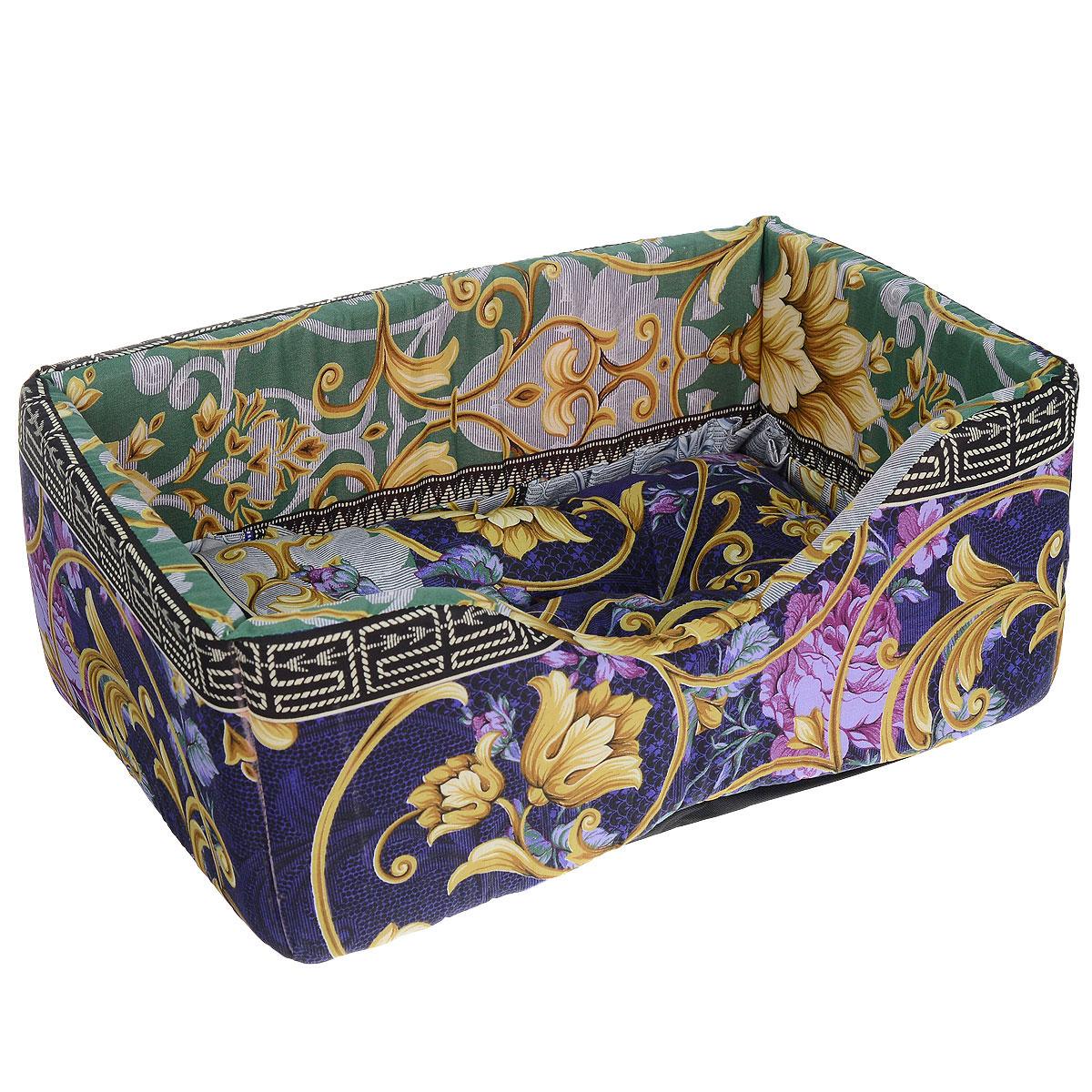 """Лежак для собак и кошек """"Гамма"""", цвет: зеленый, темно-фиолетовый, желтый, 52 см х 36 см х 24 см"""