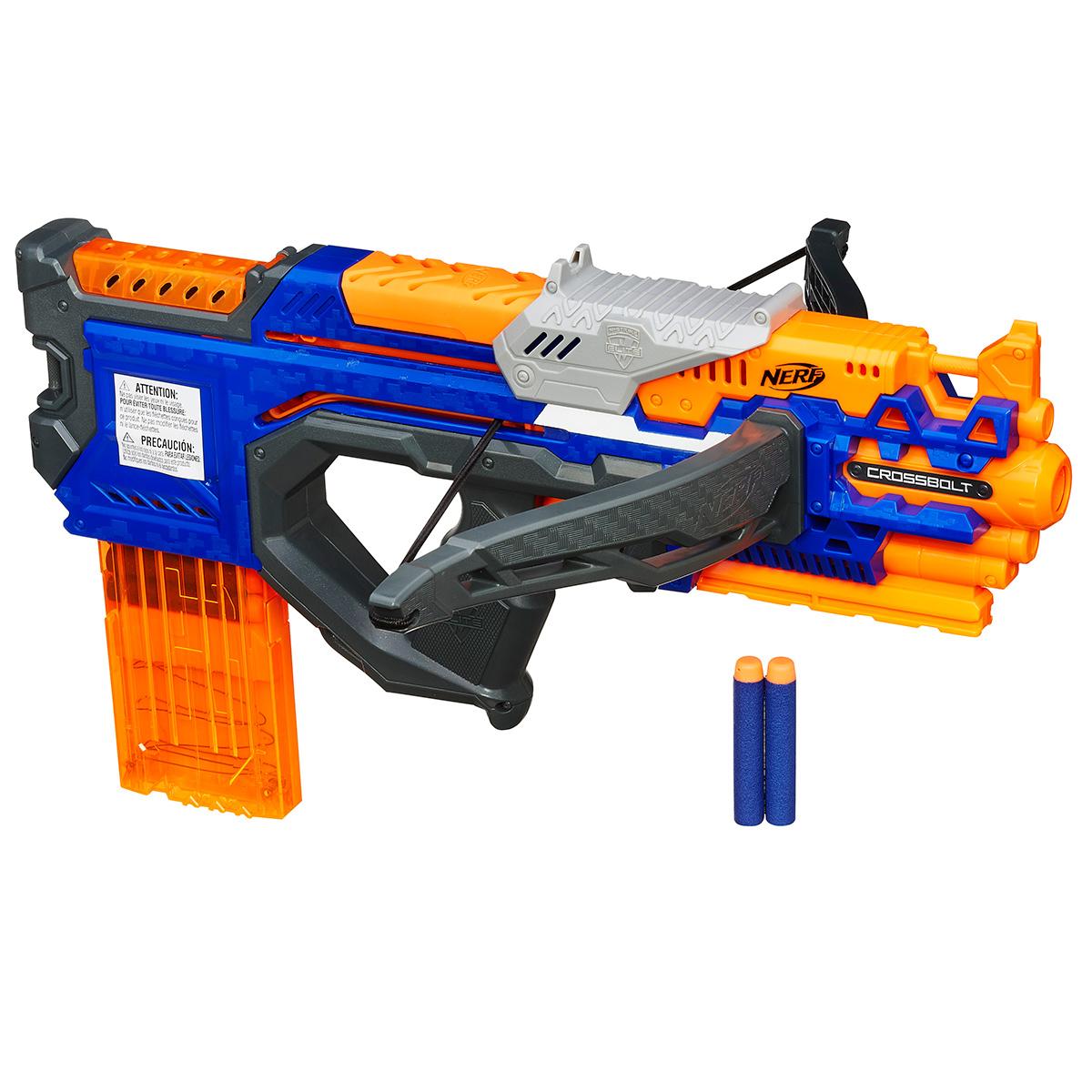Бластер Nerf КроссБолт, цвет: оранжевый, синий пулемет бластеры нерф
