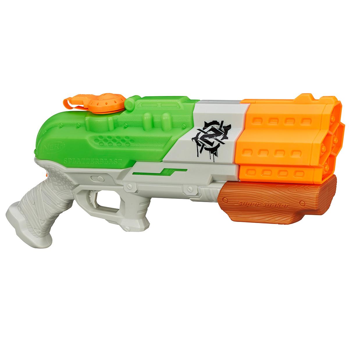 Водяной бластер Nerf Супер Сокер Зомби Страйк, цвет: зеленый, оранжевый как нарисовать nerf