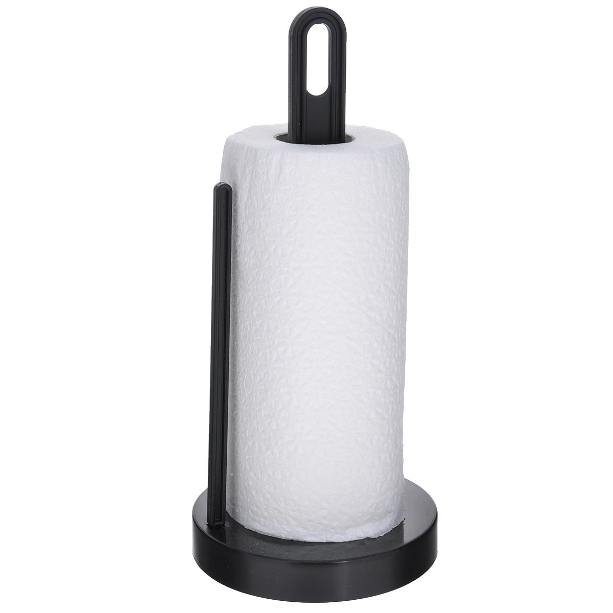 Держатель для бумажных полотенец Berossi Solo, цвет: черныйАС19305000Держатель Berossi Solo, изготовленный из высококачественного пластика, предназначен для бумажных полотенец. Изделие имеет широкое основание и оснащено зажимом, позволяющим без труда оторвать нужную длину полотенца. В комплекте - рулон бумажных полотенец.Такой держатель станет полезным аксессуаром в домашнем быту и идеально впишется в интерьер современной кухни.