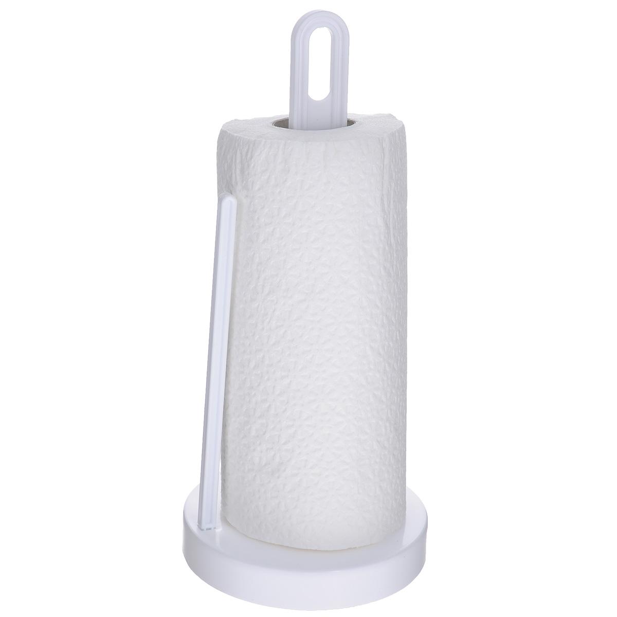 Держатель для бумажных полотенец Berossi Solo, цвет: снежно-белыйАС19301000Держатель Berossi Solo, изготовленный из высококачественного пластика, предназначен для бумажных полотенец. Изделие имеет широкое основание и оснащено зажимом, позволяющим без труда оторвать нужную длину полотенца. В комплекте - рулон бумажных полотенец.Такой держатель станет полезным аксессуаром в домашнем быту и идеально впишется в интерьер современной кухни.
