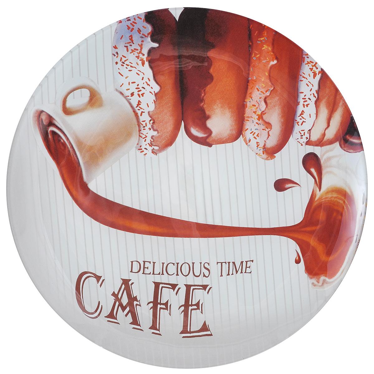 """Круглая тарелка Zibo Shelley """"Пончики. Крем"""", изготовленная из стекла, декорирована ярким  изображением. Она не только украсит сервировку вашего стола и подчеркнет прекрасный вкус  хозяина, но и станет отличным подарком.  Можно использовать в посудомоечной машине и СВЧ. Диаметр: 25 см.  Высота: 1,5 см."""