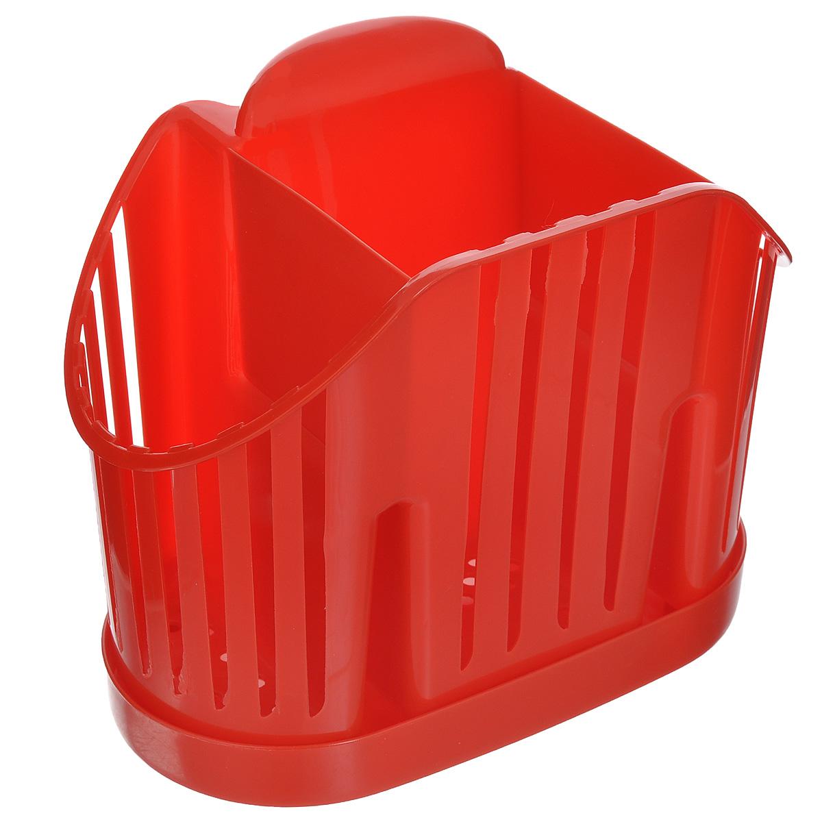 Подставка для столовых приборов Idea, цвет: красныйМ 1160Подставка для столовых приборов Idea, выполненная из высококачественного полипропилена, станет полезным приобретением для вашей кухни. Изделие оснащено 3 секциями для различных столовых приборов. Дно и стенки имеют перфорацию для легкого стока жидкости, которую собирает поддон.Такая подставка поможет аккуратно рассортировать все столовые приборы и тем самым поддерживать порядок на кухне.Размер подставки: 13,5 см х 17,5 см х 11 см.Размер поддона: 18,5 см х 10 см х 2 см.