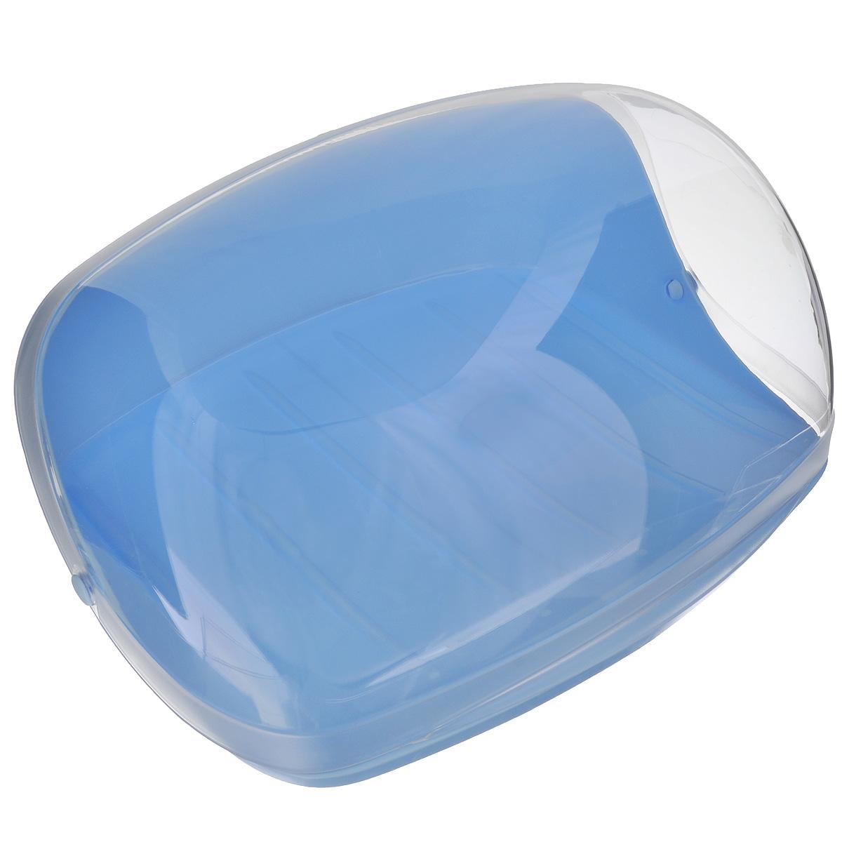 Хлебница Idea, цвет: голубой, прозрачный, 31 см х 24,5 см х 14 смМ 1180Хлебница Idea, изготовленная из пищевого пластика, обеспечивает идеальные условия хранения для различных видов хлебобулочных изделий, надолго сохраняя их свежесть. Изделие оснащено плотно закрывающейся крышкой, защищая продукты от воздействия внешних факторов (запахов и влаги).Вместительность, функциональность и стильный дизайн позволят хлебнице стать не только незаменимым аксессуаром на кухне, но и предметом украшения интерьера. В ней хлеб всегда останется свежим и вкусным.