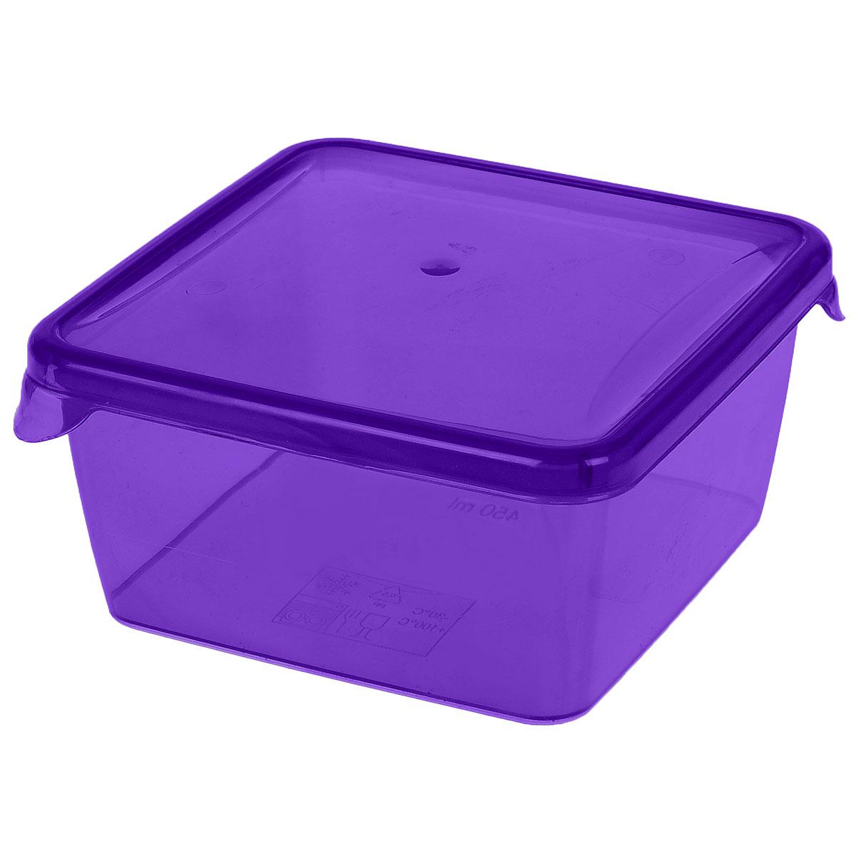 Контейнер P&C Браво, цвет: фиолетовый, 450 млПЦ1030_фиолетовыйКонтейнер P&C Браво выполнен из высококачественного пищевого прозрачного пластика и предназначен для хранения и транспортировки пищи.Крышка легко открывается и плотно закрывается с помощью легкого щелчка. Подходит для использования в микроволновой печи без крышки (до +100°С), для заморозки при минимальной температуре -30°С. Можно мыть в посудомоечной машине.