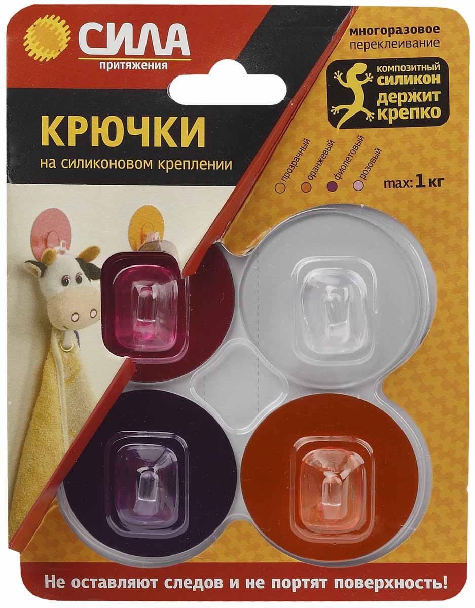 Крючки на силиконовом креплении  – система многоразового использования, без гвоздей, для гладких поверхностей, таких как кафель, пластик, ламинированные поверхности мебели. Максимальная нагрузка до 1 кг. Цвет: прозрачный, розовый, фиолетовый, оранжевый.