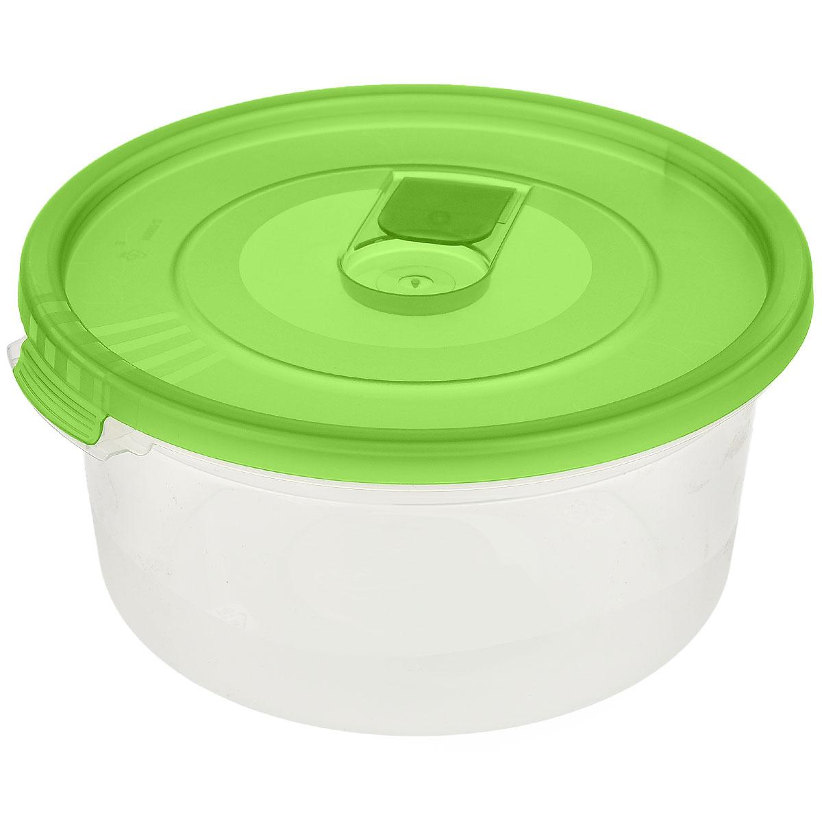 Контейнер Полимербыт Смайл, цвет: прозрачный, зеленый, 800 млС521_зеленыйКонтейнер Полимербыт Смайл круглой формы, изготовленный из прочного пластика, специально предназначен для хранения пищевых продуктов. Контейнер оснащен герметичной крышкой со специальным клапаном, благодаря которому внутри создается вакуум и продукты дольше сохраняют свежесть и аромат. Крышка легко открывается и плотно закрывается.Стенки контейнера прозрачные - хорошо видно, что внутри. Контейнер устойчив к воздействию масел и жиров, легко моется. Контейнер имеет возможность хранения продуктов глубокой заморозки, обладает высокой прочностью. Можно мыть в посудомоечной машине. Подходит для использования в микроволновых печах. Диаметр: 15 см. Высота (без крышки): 7 см.