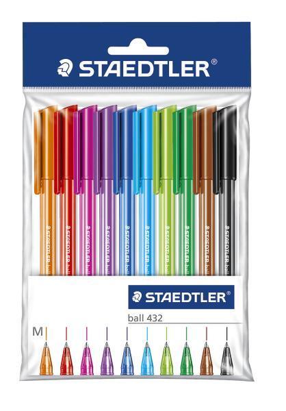 Шариковая ручка 432 M, набор 10 цв., блистер.уп. STAEDTLER43235