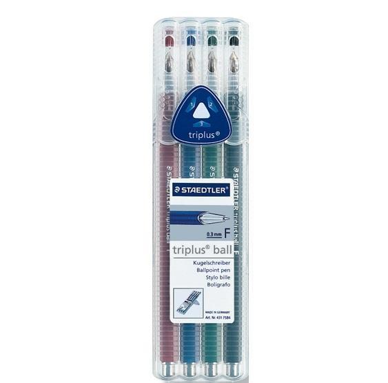 Шариковая ручка Triplus Ball, F 0,3мм,наб. 4 цвета Staedtler431