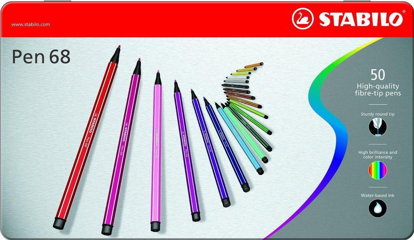 STABILO Набор профессиональных фломастеров PEN 68 50 цветов stabilo набор фломастеров pen 68 green editional 10 цветов