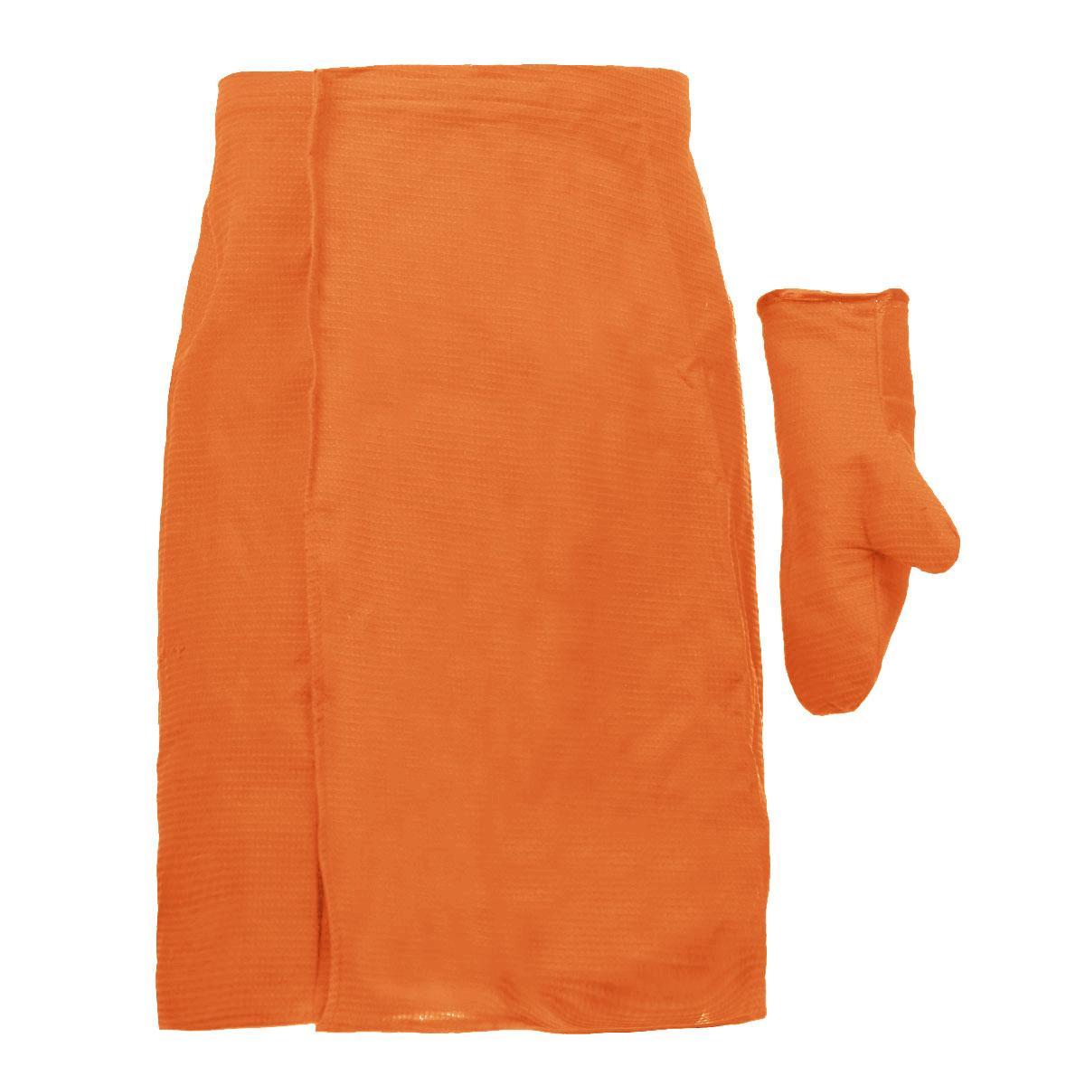 Комплект для бани и сауны Банные штучки, мужской, цвет: оранжевый, 2 предмета. 3206432064_оранжевыйКомплект для сауны и бани Банные штучки изготовлен из натурального, хорошо впитывающего влагу хлопка. Комплект состоит из однотонной вафельной накидки и рукавицы.Накидка специального кроя снабжена резинкой и застежкой-липучкой. Имеет универсальный размер. В парилке можно лежать на ней, после душа вытираться. Рукавица защитит ваши руки от ожогов, может использоваться для массажа тела. Комплект создан для активных и уверенных в себе людей. Отдых в сауне или бане - это полезный и в последнее время популярный способ времяпровождения. Комплект Банные штучки обеспечит вам комфорт и удобство. Размер накидки: 60 см х 145 см. Размер рукавицы: 27 см х 18,5 см.