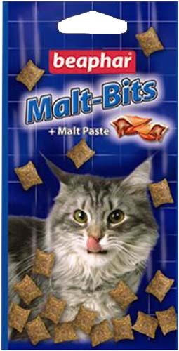Подушечки для кошек с мальт-пастойBeaphar Malt-Bits, 150 г, 300 шт14467Beaphar Malt-Bits - это отличное средство для предупреждения и удаления волосяных комков. Кусочки солода сочетают прекрасный вкус с эффективностью пасты против волосяных комков. Кошки и котята заглатывают шерсть при вылизывании. Эта шерсть накапливается в желудочно-кишечном тракте кошки ипревращается в волосяные шары, которые могут влиять на нормальное пищеварение. Сухой кашель, рвота после еды, пучение кишечника и запор могут быть симптомами образования таких шаров. Регулярное потребление Malt Bits поможет смягчить эту проблему.