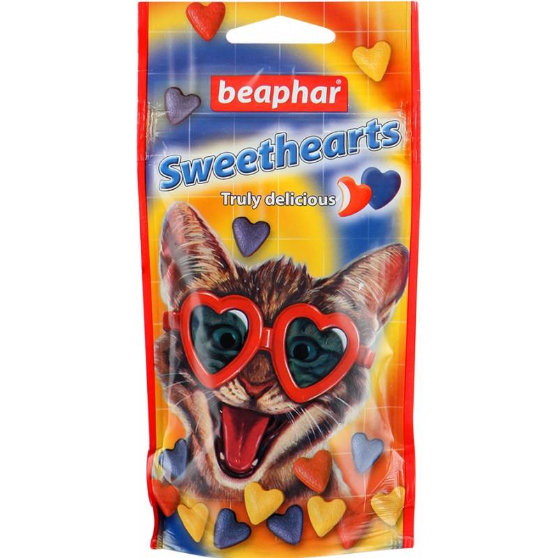 Лакомство для кошек Beaphar Sweet Hearts, 150 шт16397Витаминизированное лакомство Sweet Hearts обрадует вашу кошку и станет идеальным вознаграждением для питомца. Содержит витамины и минералы для всего организма животного.Это полезное лакомство для кошек и котят в форме разноцветных сердечек с очень вкусным глазуревым покрытием.