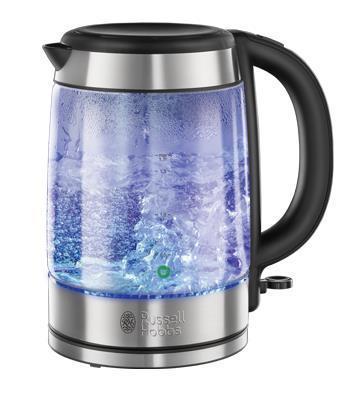 Russell Hobbs 21600-70 Basic Glass электрочайник21600-70Изящный и стильный чайник в прозрачном корпусе и акцентами из нержавеющей стали - чайник, который на любой рабочей поверхности будет выглядить стильно и элегантно. Чайник выполнен из премиального стекла Schott glass и обладает полной подсветкой корпуса в синем цвете - да, вы сможете видеть, как этот чайник закипает.