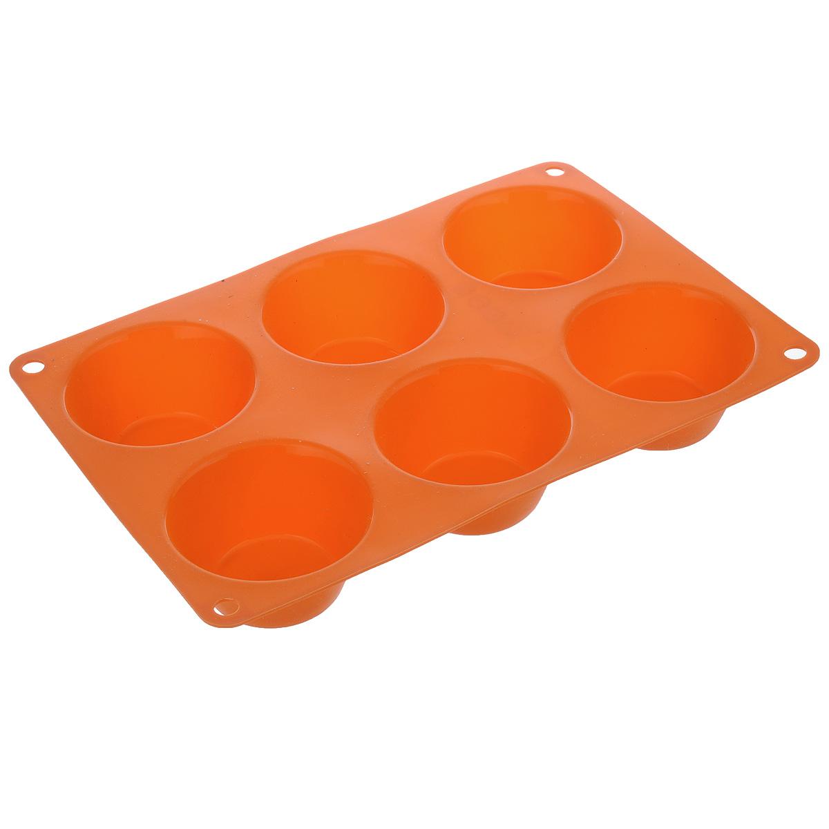 Форма для выпечки маффинов Taller,цвет: оранжевый, 6 ячеекTR-6200_оранжевыйФорма Taller будет отличным выбором для всех любителей выпечки. Благодаря тому, что форма изготовлена из силикона, готовую выпечку или мармелад вынимать легко и просто. Изделие выполнено в форме прямоугольника, внутри которого расположены 6 круглых ячеек. Форма прекрасно подойдет для выпечки маффинов.С такой формой вы всегда сможете порадовать своих близких оригинальной выпечкой. Материал изделия устойчив к фруктовым кислотам, может быть использован в духовках, микроволновых печах, холодильниках и морозильных камерах (выдерживает температуру от -20°C до 220°C). Антипригарные свойства материала позволяют готовить без использования масла.Можно мыть и сушить в посудомоечной машине. При работе с формой используйте кухонный инструмент из силикона - кисти, лопатки, скребки. Не ставьте форму на электрическую конфорку. Не разрезайте выпечку прямо в форме.Количество ячеек: 6 шт.Общий размер формы: 24 см х 16,5 см х 3,5 см.Диаметр ячейки: 7 см.Глубина ячейки: 3,5 см.