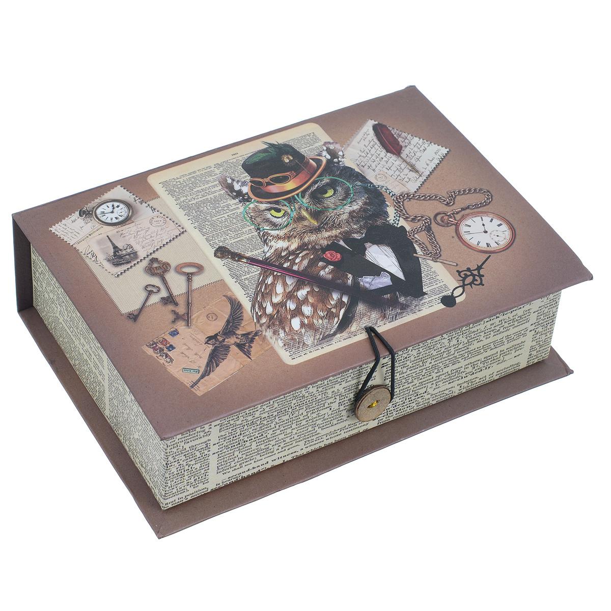 Подарочная коробка Гэтсби, 18 см х 12 см х 5 см39470Подарочная коробка Гэтсби выполнена из плотного картона. Изделие оформлено изображением гламурной совы, часов, ключей. Коробка закрывается на пуговицу.Подарочная коробка - это наилучшее решение, если вы хотите порадовать ваших близких и создать праздничное настроение, ведь подарок, преподнесенный в оригинальной упаковке, всегда будет самым эффектным и запоминающимся. Окружите близких людей вниманием и заботой, вручив презент в нарядном, праздничном оформлении.Плотность картона: 1100 г/м2.