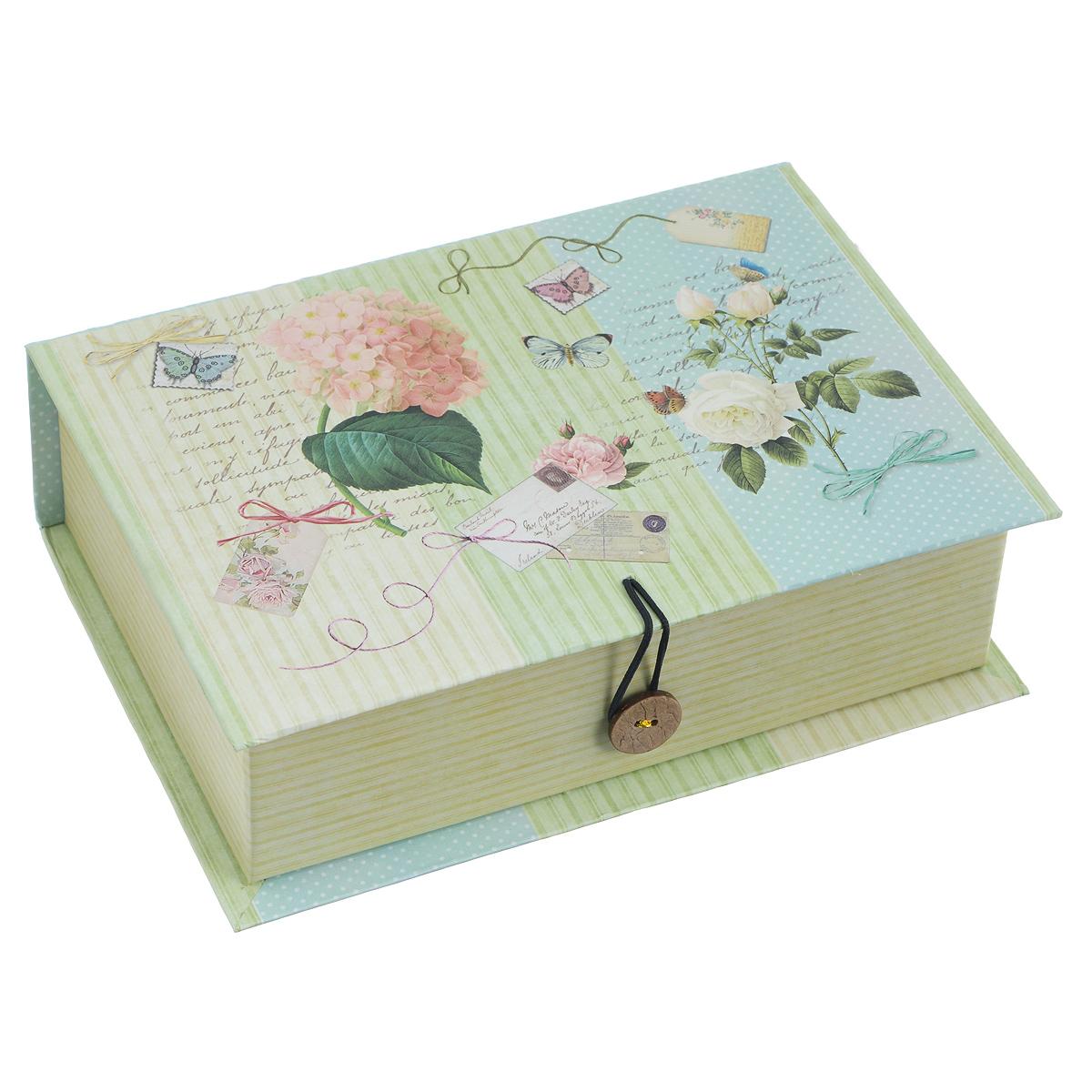 Подарочная коробка Феникс-Презент Нежность, 18 х 12 х 5 см39466Подарочная коробка Нежность выполнена из плотного картона. Изделие оформлено изображением цветов и поздравительных открыток. Коробка закрывается на пуговицу.Подарочная коробка - это наилучшее решение, если вы хотите порадовать ваших близких и создать праздничное настроение, ведь подарок, преподнесенный в оригинальной упаковке, всегда будет самым эффектным и запоминающимся. Окружите близких людей вниманием и заботой, вручив презент в нарядном, праздничном оформлении.Плотность картона: 1100 г/м2.