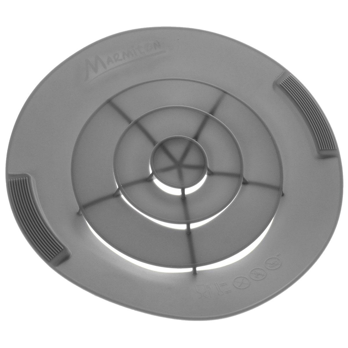Крышка силиконовая от накипи Marmiton, цвет: серый. Диаметр 28 см17048_серыйСиликоновая крышка Marmiton предназначена для предохранения готовящихся продуктов от выкипания. Это настоящий прорыв в кухонных технологиях и отличная альтернатива обычным крышкам. Она устроена таким образом, что пенящий бурлящий поток поднимается и сквозь специальные лепестки выходит наверх крышки, оставляя варочную поверхность сухой и чистой, даже если вы оставите готовящуюся пищу без присмотра надолго. С такой крышкой у вас ничего не убежит и не выкипит, не останется брызг от раскаленного масла, все останется в посуде и приготовится на максимально возможной температуре, сэкономив ваше время и энергию. Преимущества: - Предотвращает от выкипания. - Предотвращает беспорядок на кухне. - Подходит для любой посуды диаметром от 14 до 28 см. - Экономит время и энергию. Можно использовать на плите, в духовом шкафу и микроволновой печи. Сохраняет свежесть продуктов при хранении в холодильнике. Можно мыть в посудомоечной машине.