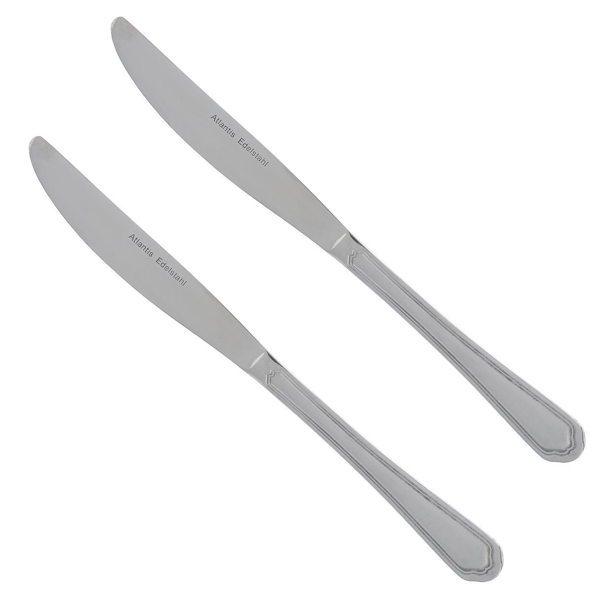 Набор столовых ножей Atlantis Гармония, длина 20 см, 3 шт. 30024M01-TAL0230024M01-TAL02Набор Atlantis Гармония состоит из трех столовых ножей, выполненных из нержавеющей стали с матовой полировкой. Строгий, лаконичный, но изысканный дизайн набора сделает его украшением обеденного стола. Набор прекрасно подойдет и для торжественных случаев. Длина ножа: 23,5 см. Длина лезвия: 12 см.