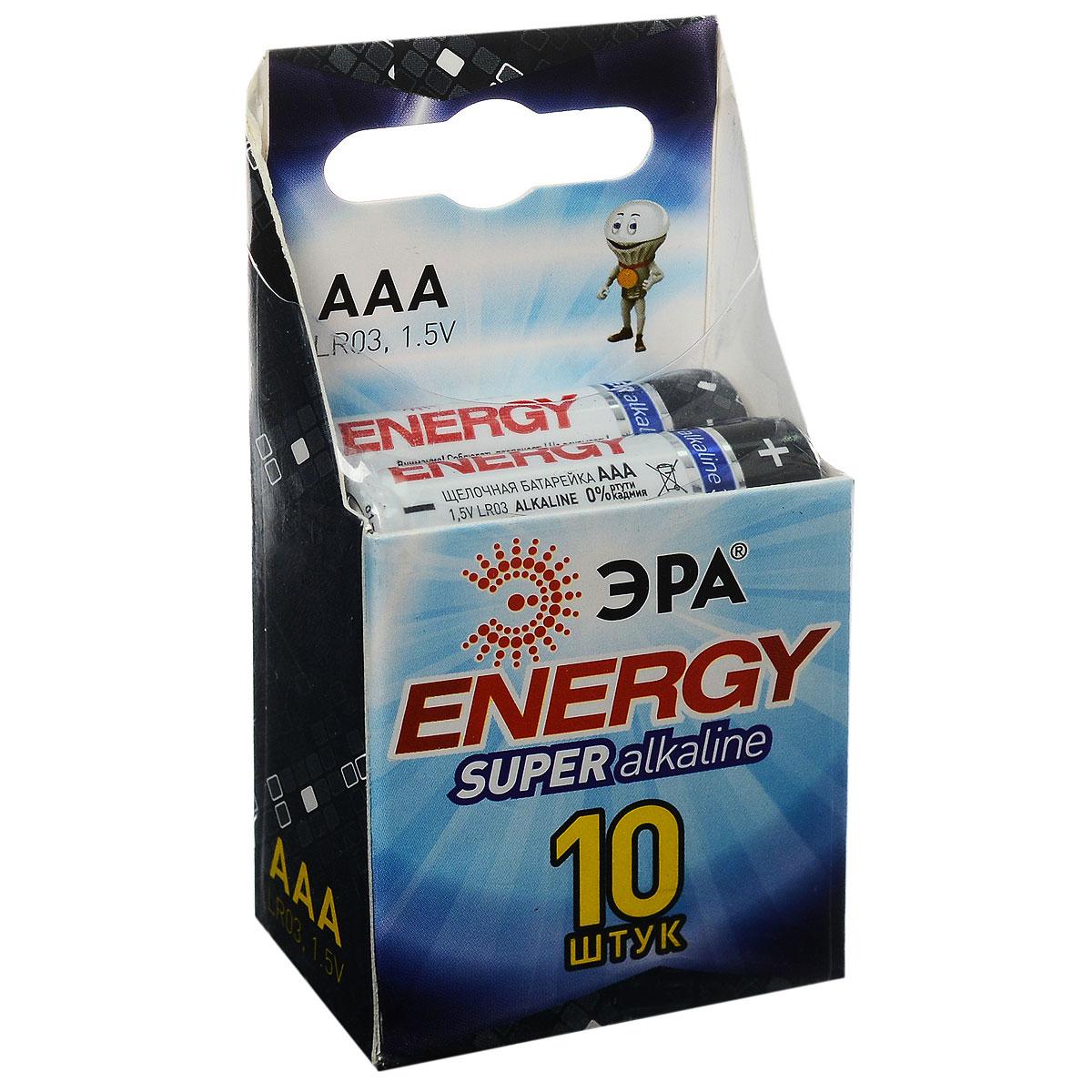 Батарейка алкалиновая ЭРА Energy, тип AAA (LR03), 1,5В, 10 штLR03.10Щелочные (алкалиновые) батарейки ЭРА Energy оптимально подходят для повседневного питания множества современных бытовых приборов: электронных игрушек, фонарей, беспроводной компьютерной периферии и многого другого. Не содержат кадмия и ртути. Батарейки созданы для устройств со средним и высоким потреблением энергии. Работают в 10 раз дольше, чем обычные солевые элементы питания. Размер батарейки: 1 см х 4,1 см.
