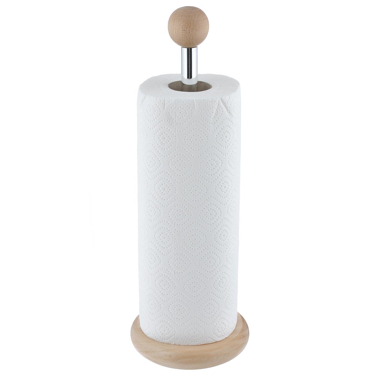 Держатель для бумажных полотенец Kesper9000-9Держатель Kesper, изготовленный из высококачественного дерева, предназначен для бумажных полотенец. Изделие имеет широкое круглое основание. В комплекте - рулон бумажных полотенец.Такой держатель станет полезным аксессуаром в домашнем быту и идеально впишется в интерьер современной кухни.