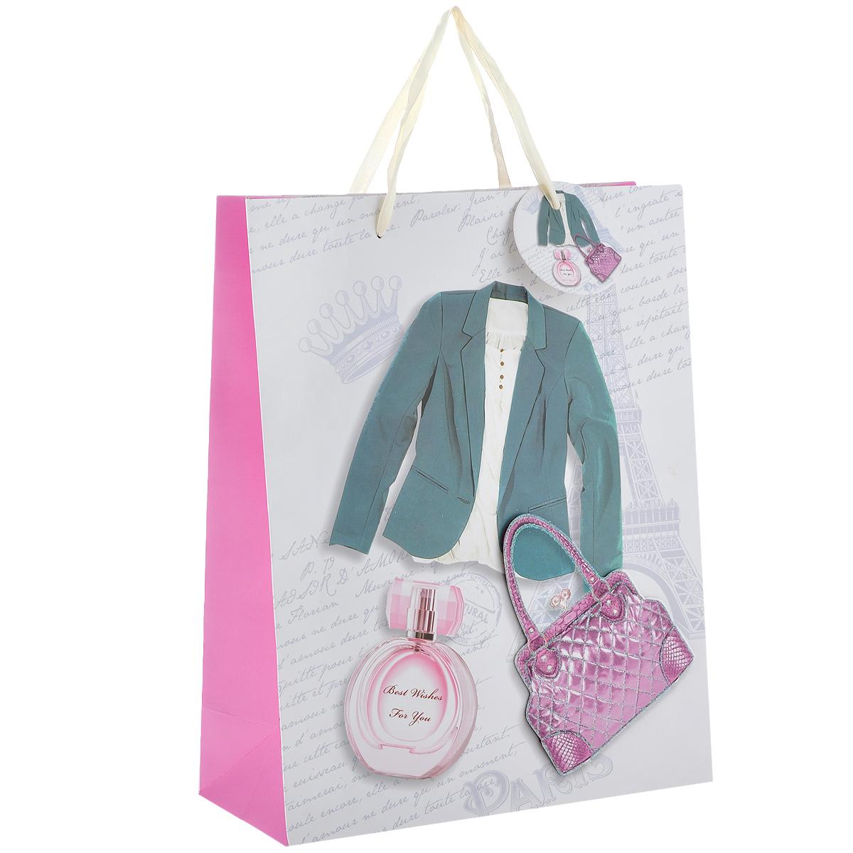 Пакет подарочный Дамский стиль, 26 х 10 х 32 см1022-SB Пакет Дамский стильДизайнерский подарочный пакет Дамский стиль выполнен из плотной бумаги, оформлен изображением зеленого пиджака, парфюма и аппликацией в виде розовой сумочки, покрытой сверкающими блестками. Дно изделия укреплено плотным картоном, который позволяет сохранить форму пакета и исключает возможность деформации дна под тяжестью подарка. Для удобной переноски имеются две атласные ручки.Подарок, преподнесенный в оригинальной упаковке, всегда будет самым эффектным и запоминающимся. Окружите близких людей вниманием и заботой, вручив презент в нарядном праздничном оформлении.