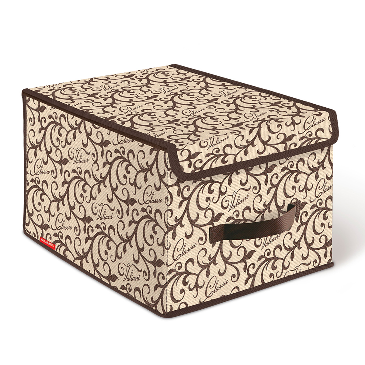 Короб стеллажный Valiant Classic, с крышкой, 30 х 40 х 25 смCL-BOX-LMСтеллажный короб Valiant Classic изготовлен из высококачественного нетканого материала, который обеспечивает естественную вентиляцию, позволяя воздуху проникать внутрь, но не пропускает пыль. Вставки из плотного картона хорошо держат форму. Короб снабжен специальной крышкой, которая фиксируется с помощью липучек. Изделие отличается мобильностью: легко раскладывается и складывается. В таком коробе удобно хранить одежду, белье и мелкие аксессуары.Оригинальный дизайн Classic погружает в романтическую атмосферу. Система хранения в едином дизайне станет стильным акцентом в современном гардеробе.