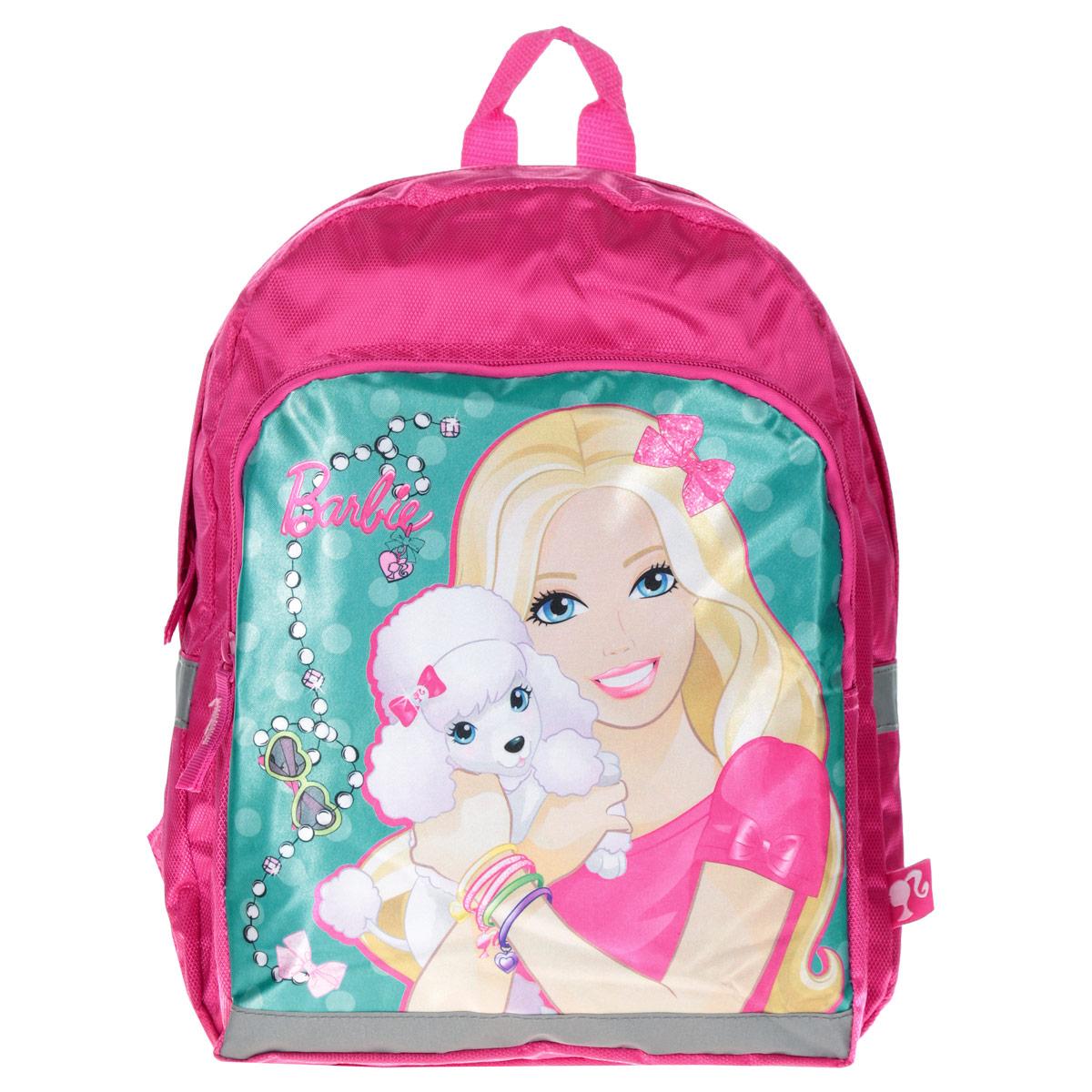 Рюкзак детский Barbie, цвет: розовый, бирюзовый. BRAP-UT-558BRAP-UT-558Рюкзак детский Barbie - это незаменимая вещь для прогулок и повседневных дел, в нем можно разместить самые важные вещи. Пусть у вашего ребенка тоже будет свой собственный рюкзак. Выполнен рюкзак из прочных и безопасных материалов. Лицевая сторона оформлена ярким изображением куклы Барби с собачкой. У модели одно вместительное отделение на застежке-молнии. Фронтальный карман также на молнии. Широкие лямки можно свободно регулировать по длине в зависимости от роста ребенка. Рюкзак оснащен текстильной ручкой для переноски в руке. Светоотражающие элементы обеспечивают безопасность в темное время суток.