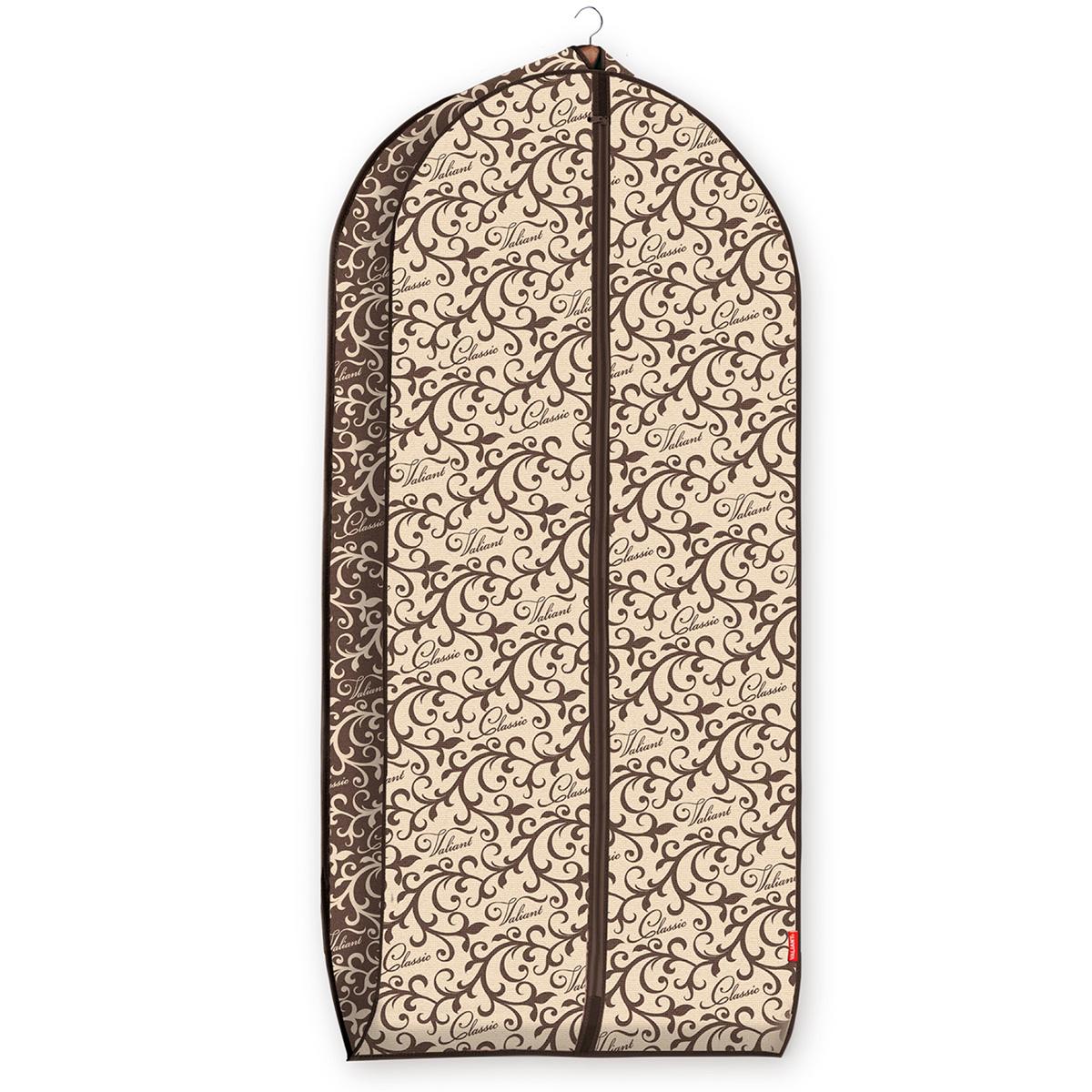 """Чехол для одежды Valiant """"Classic"""" изготовлен из высококачественного нетканого материала, который обеспечивает естественную вентиляцию, позволяя воздуху проникать внутрь, но не пропускает пыль. Чехол очень удобен в использовании. Наличие боковой вставки увеличивает объем чехла, что позволяет хранить крупные объемные вещи. Чехол легко открывается и закрывается застежкой-молнией. Идеально подойдет для хранения одежды и удобной перевозки. Оригинальный дизайн """"Classic"""" придется по вкусу ценительницам прекрасного. Система хранения станет стильным акцентом в современном гардеробе."""