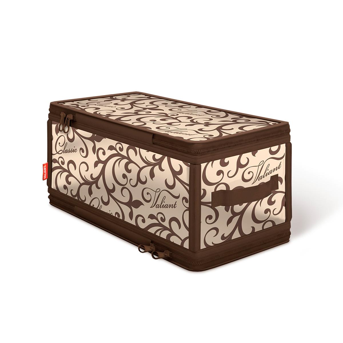 Кофр для хранения Valiant Classic, с застежкой-молнией, 30 см х 15 см х 15 смCL-ZIP-SКофр для хранения Valiant Classic изготовлен из высококачественного полимерного материала и спанбонда. Кофр удобен в использовании: чтобы его сложить, достаточно застегнуть молнию. В сложенном виде занимает минимум места. В таком кофре удобно хранить белье и мелкие аксессуары. Сбоку имеется ручка. Изысканный дизайн Classic Collection придется по вкусу ценителям классического стиля, он гармонично вписывается в современный классический гардероб.Системы хранения в едином дизайне сделают вашу гардеробную красивой и невероятно стильной.