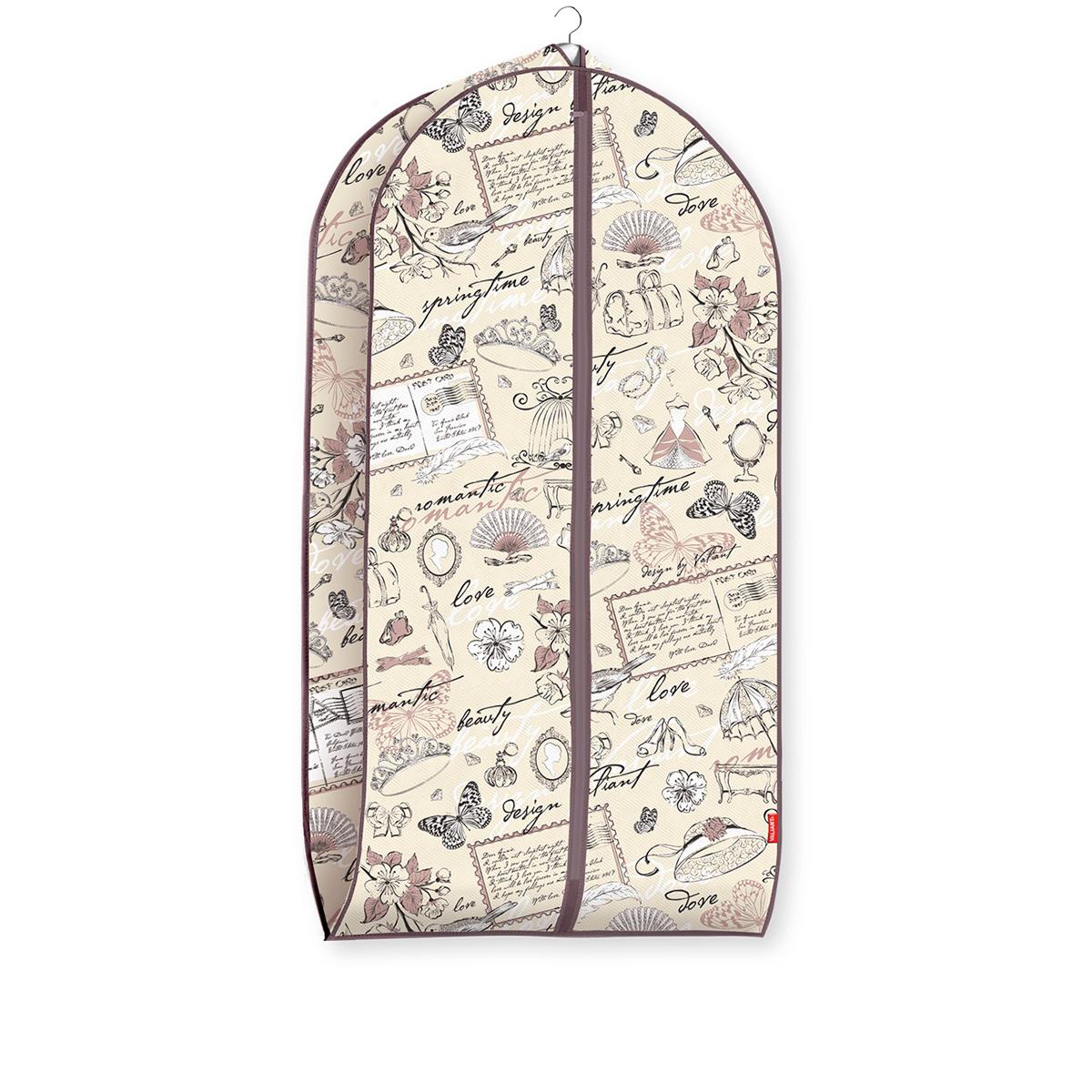 """Чехол для одежды Valiant """"Romantic"""" изготовлен из высококачественного нетканого материала (спанбонда), который обеспечивает естественную вентиляцию, позволяя воздуху проникать внутрь, но не пропускает пыль. Чехол очень удобен в использовании. Наличие боковой вставки увеличивает объем чехла, что позволяет хранить крупные объемные вещи. Чехол легко открывается и закрывается застежкой-молнией. Идеально подойдет для транспортировки и хранения одежды. Система хранения """"Romantic"""" создаст трогательную атмосферу романтического настроения в женском гардеробе. Оригинальный дизайн придется по вкусу ценительницам эстетичного хранения. Системы хранения в едином дизайне сделают вашу гардеробную изысканной и невероятно стильной."""
