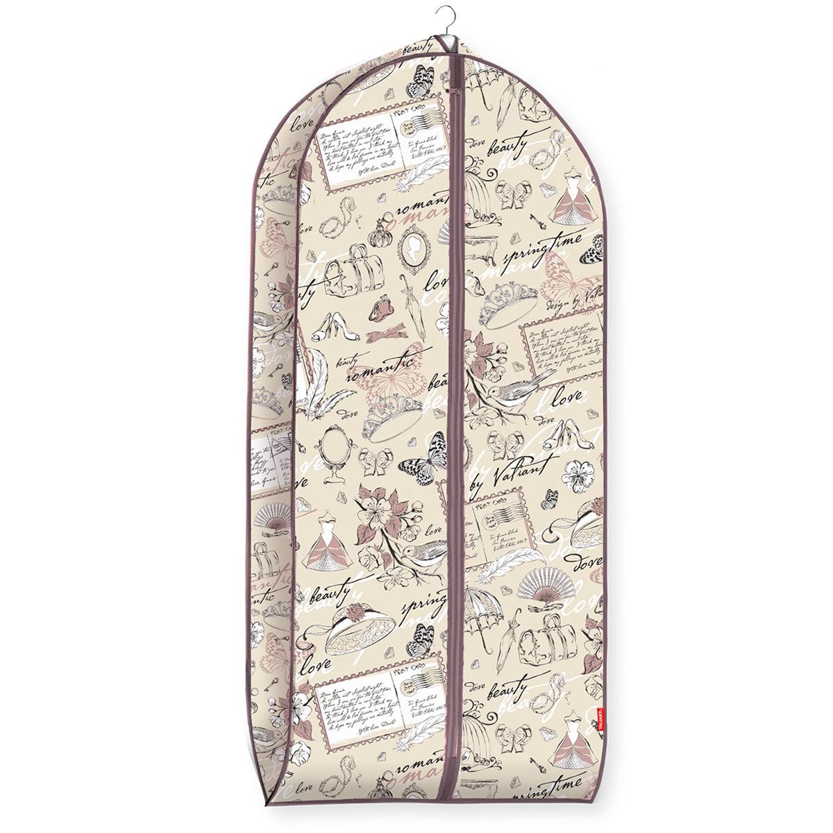 Чехол для одежды Valiant Romantic, объемный, 60 см х 137 см х 10 смRM-CV-137Чехол для одежды Valiant Romantic изготовлен из высококачественного нетканого материала (спанбонда), который обеспечивает естественную вентиляцию, позволяя воздуху проникать внутрь, но не пропускает пыль. Чехол очень удобен в использовании. Наличие боковой вставки увеличивает объем чехла, что позволяет хранить крупные объемные вещи. Чехол легко открывается и закрывается застежкой-молнией. Идеально подойдет для хранения одежды и удобной перевозки. Система хранения Romantic создаст трогательную атмосферу романтического настроения в женском гардеробе. Оригинальный дизайн придется по вкусу ценительницам эстетичного хранения. Системы хранения в едином дизайне сделают вашу гардеробную изысканной и невероятно стильной.