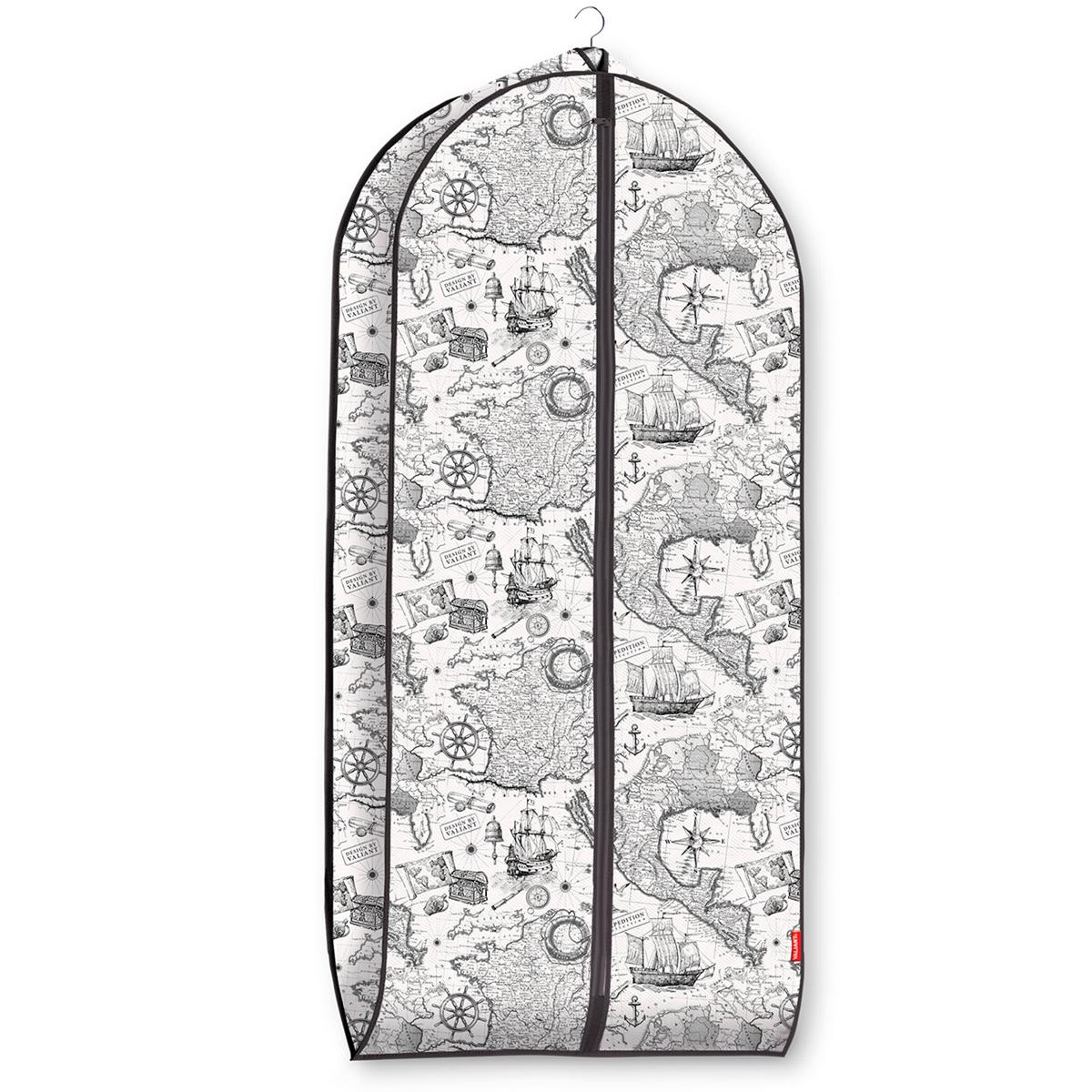 Чехол для одежды Valiant Expedition, объемный, 60 см х 137 см х 10 смEX-CV-137Чехол для одежды Valiant Expedition изготовлен из высококачественного нетканого материала, который обеспечивает естественную вентиляцию, позволяя воздуху проникать внутрь, но не пропускает пыль. Чехол очень удобен в использовании. Наличие боковой вставки увеличивает объем чехла, что позволяет хранить крупные объемные вещи. Чехол легко открывается и закрывается застежкой-молнией. Идеально подойдет для хранения одежды и удобной перевозки. Оригинальный монохромный дизайн Expedition погружает в романтическую атмосферу морских экспедиций, дальних странствий и географических открытий. Система хранения станет стильным акцентом в современном гардеробе.