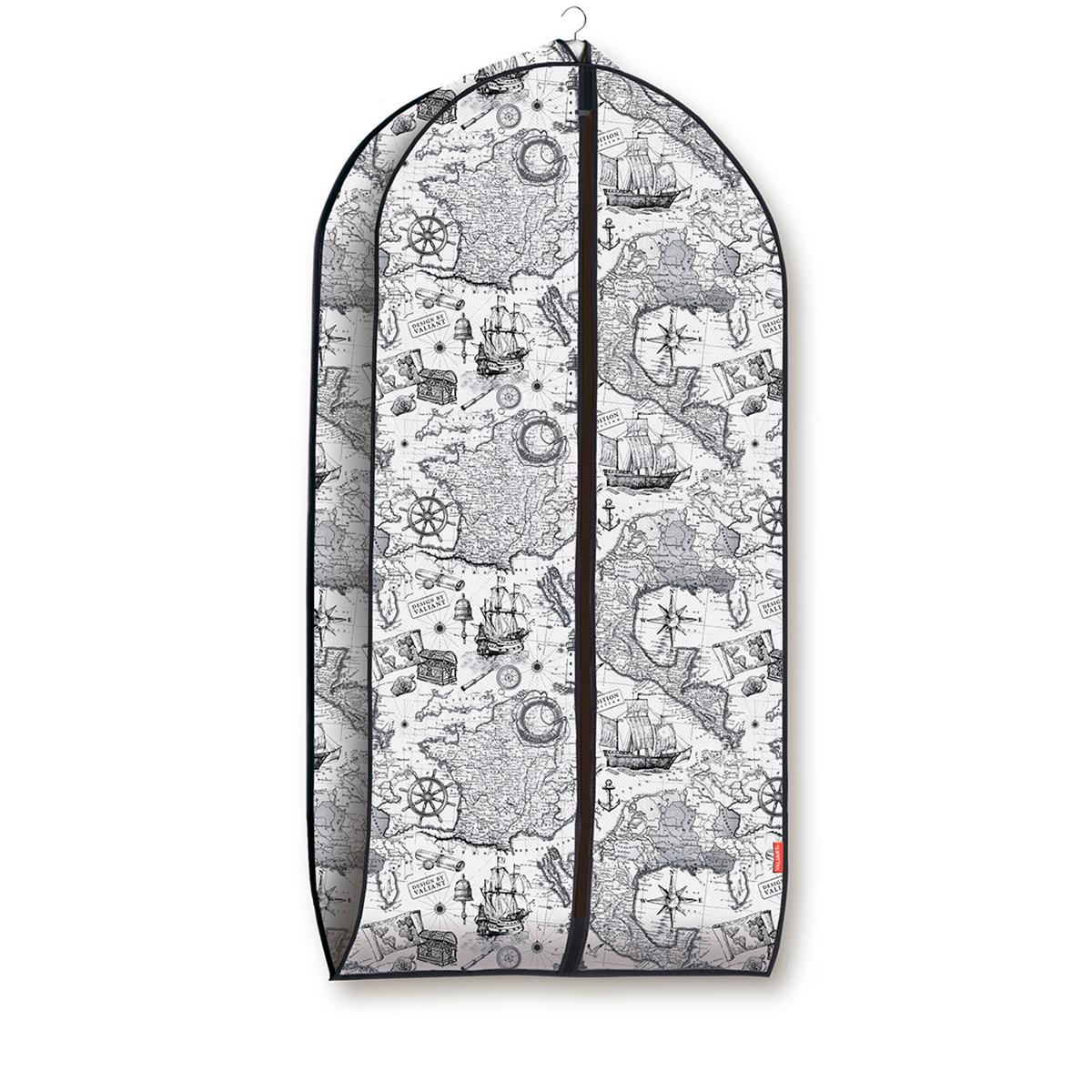 Чехол для одежды Valiant Expedition, объемный, 60 х 100 х 10 смEX-CV-100Чехол для одежды Valiant Expedition изготовлен из высококачественного нетканого материала, который обеспечивает естественную вентиляцию, позволяя воздуху проникать внутрь, но не пропускает пыль. Чехол очень удобен в использовании. Наличие боковой вставки увеличивает объем чехла, что позволяет хранить крупные объемные вещи. Чехол легко открывается и закрывается застежкой-молнией. Идеально подойдет для хранения одежды и удобной перевозки. Оригинальный монохромный дизайн Expedition погружает в романтическую атмосферу морских экспедиций, дальних странствий и географических открытий. Система хранения станет стильным акцентом в современном гардеробе.