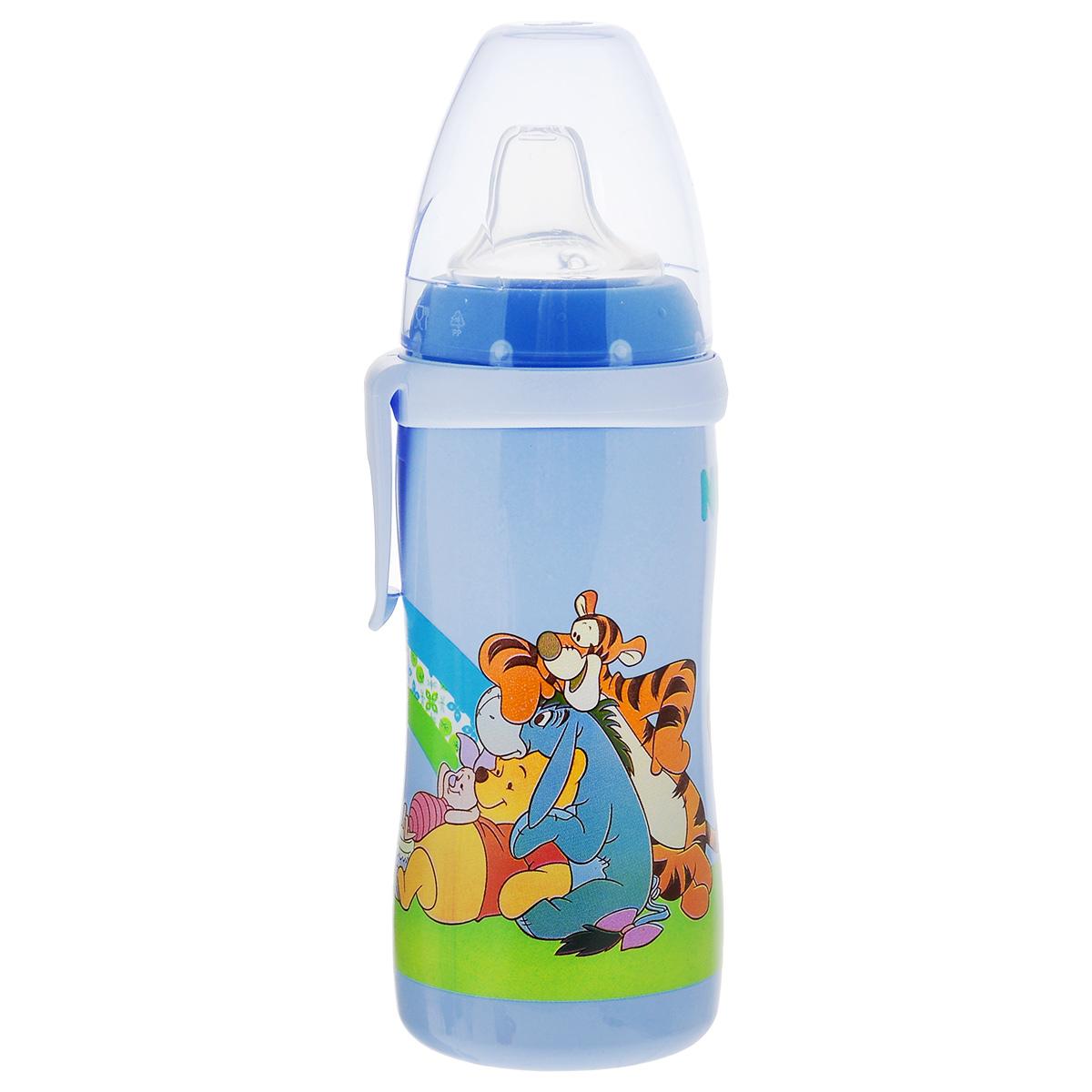 Бутылочка-поильник NUK Active Cup. Disney, с силиконовым носиком, от 12 месяцев, цвет: голубой, 300 мл бутылочка поильник nuk active cup с силиконовым носиком 300 мл от 12 месяцев цвет голубой